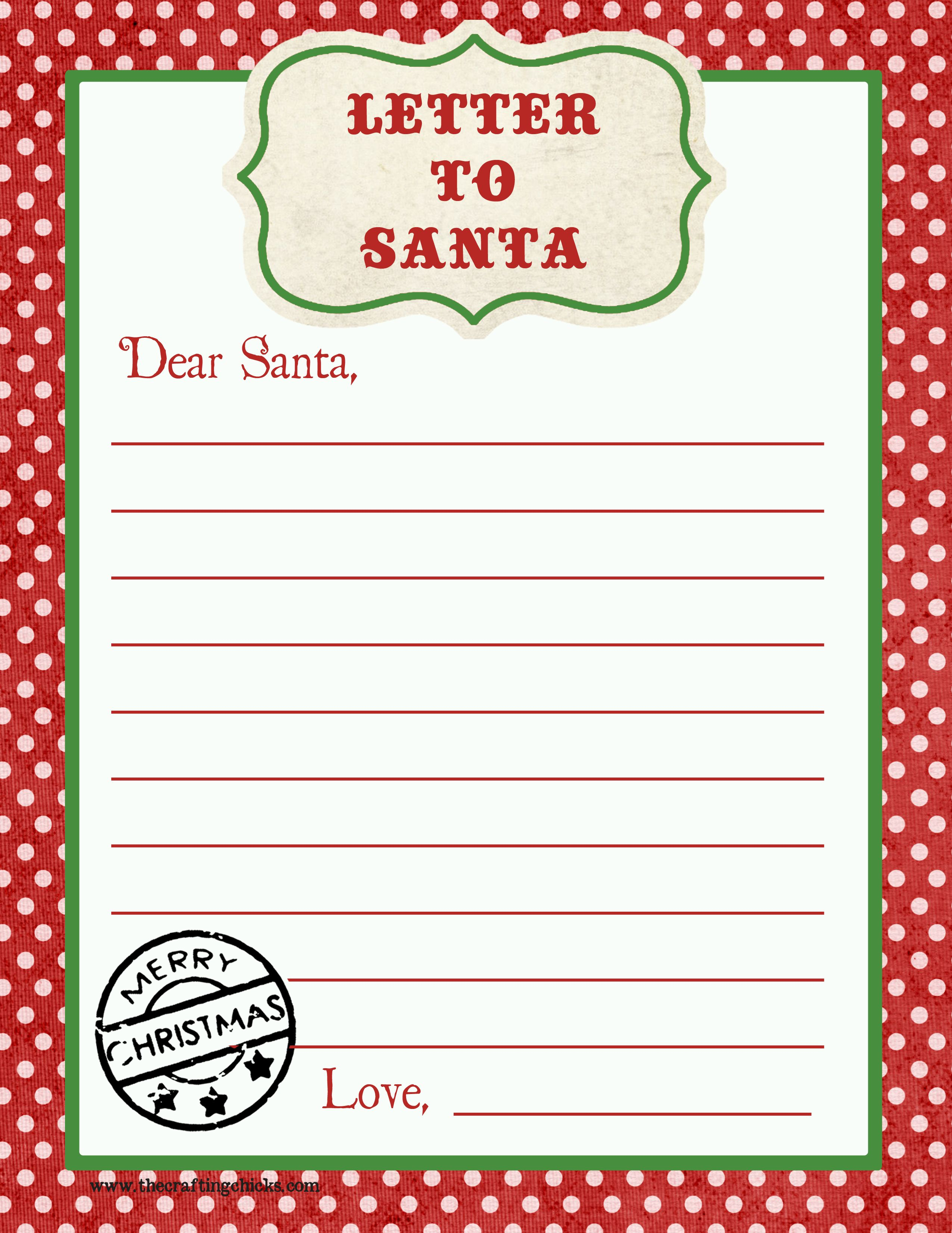Free Letter to Santa Template Printable - Letter to Santa Free Printable Download