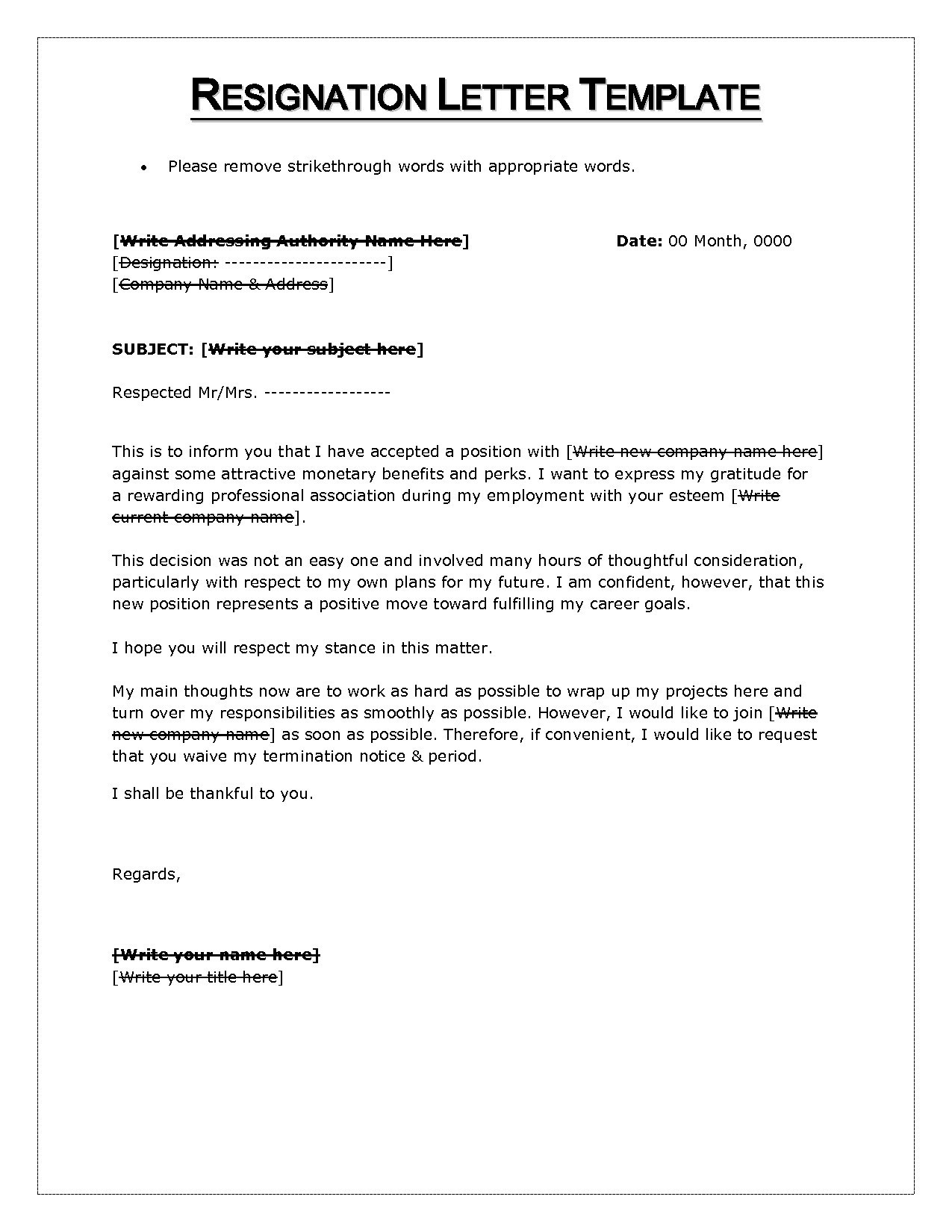Awesome Microsoft Word Resignation Letter Template   Letter Writing Format Microsoft  Word Best Resignation Letter Format
