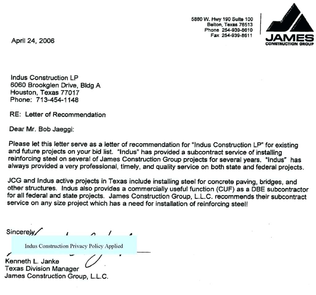 Construction Letter Of Intent Template - Letterf Intent Sample to Bid for Project Highest Clarity