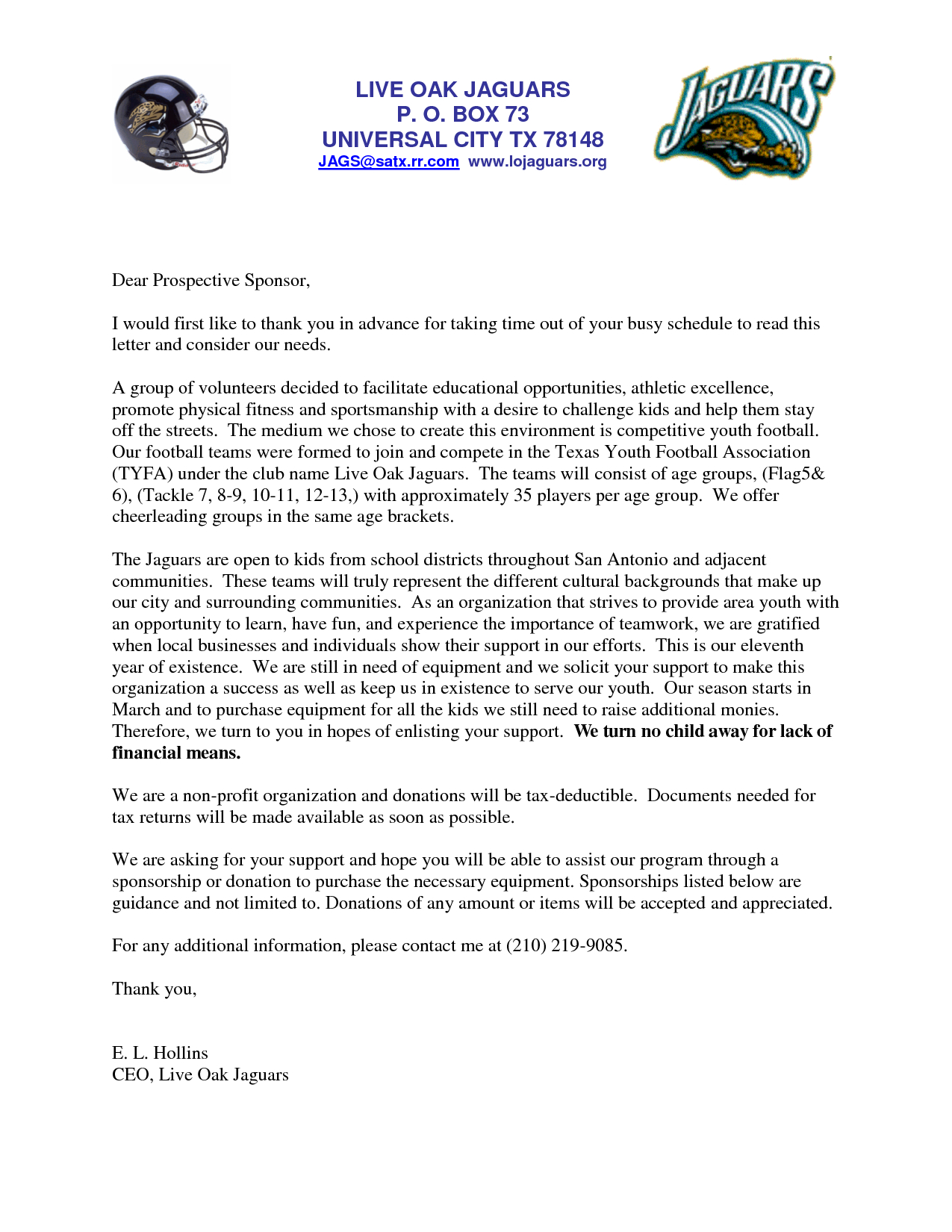 Youth Football Sponsorship Letter Template - Letters for Sports Teams Youth Sponsorship Letter Team Please Note