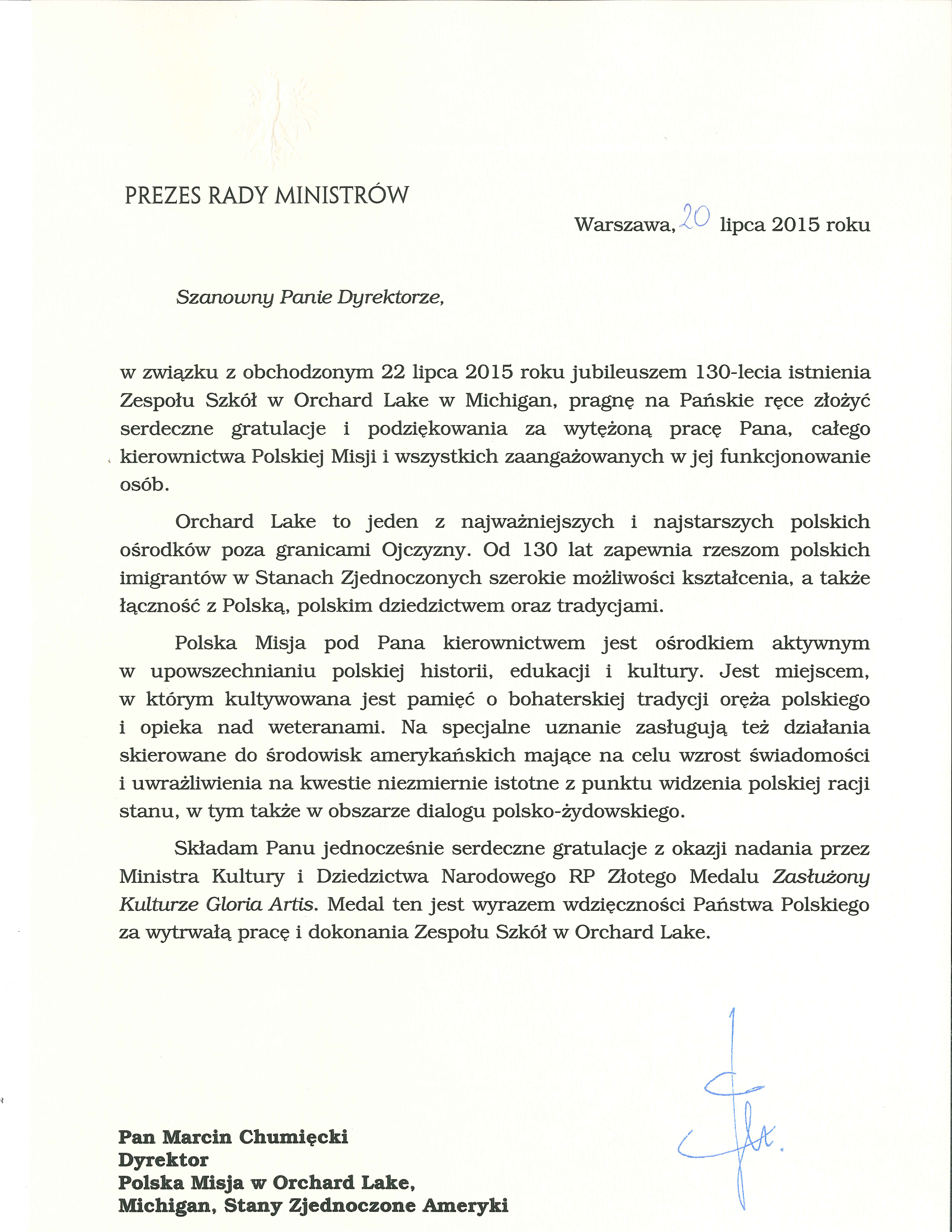 ministry support letter template Collection-Prime Minister of the Republic of Poland 1-h