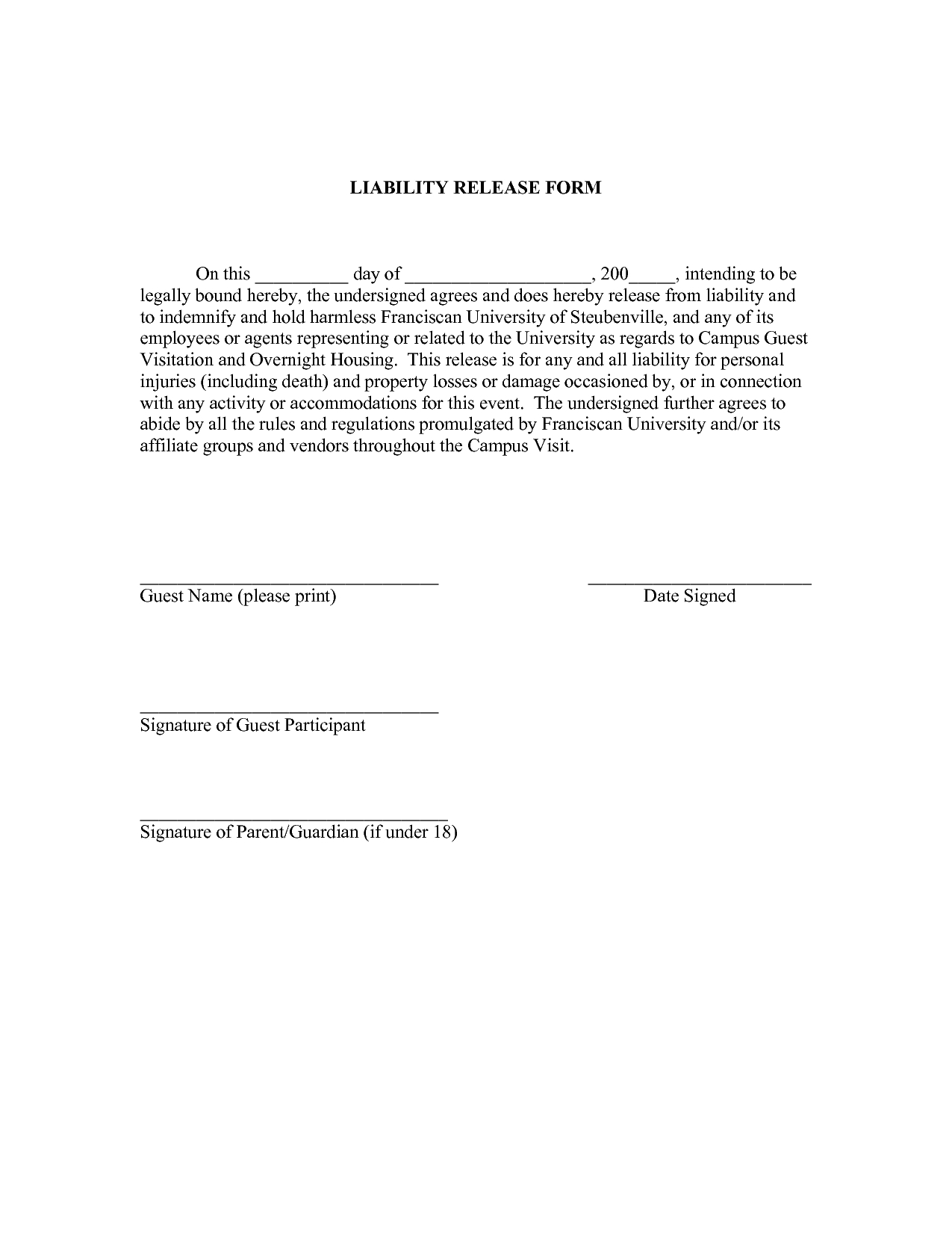 Release Of Liability Letter Template - Liability Release forms by Jacobyshaddix Liability Release Letter
