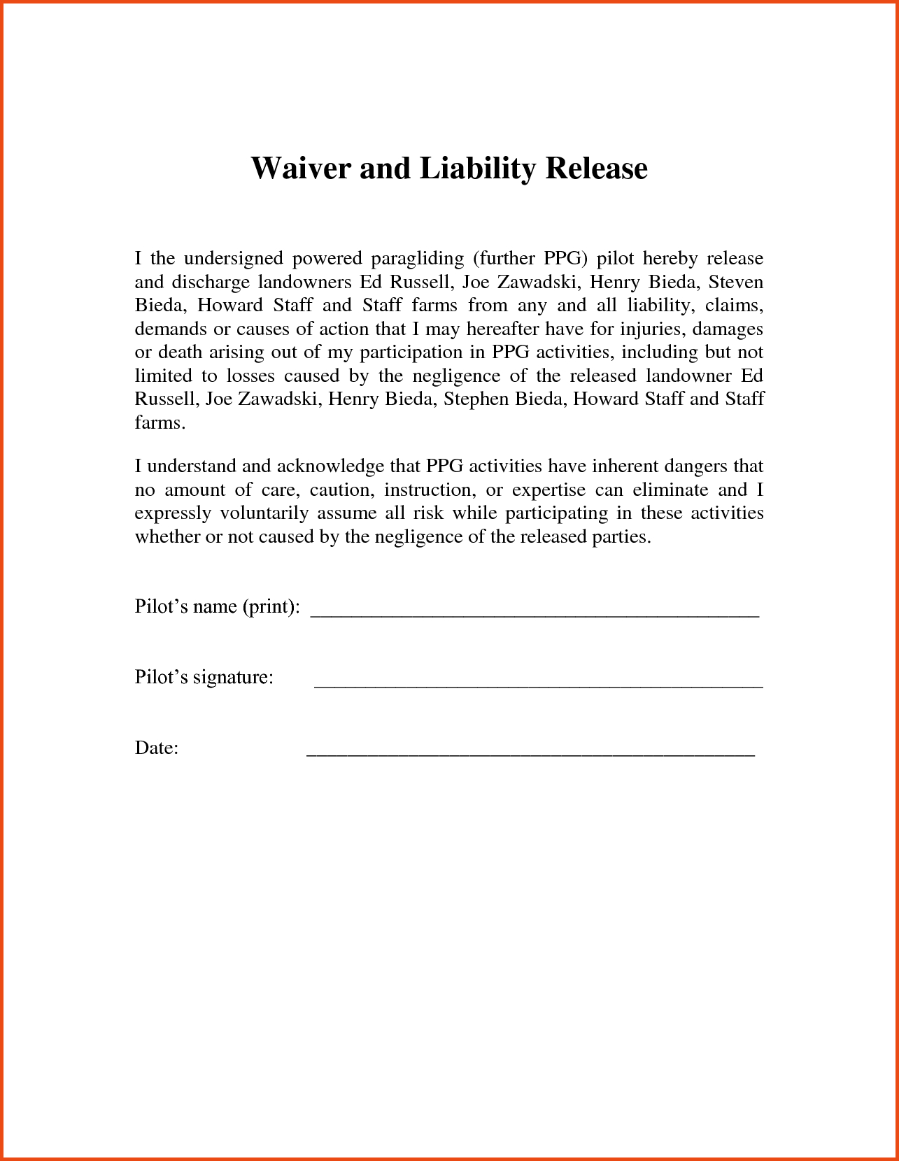 Letter Of Release Of Liability Template Collection | Letter Templates