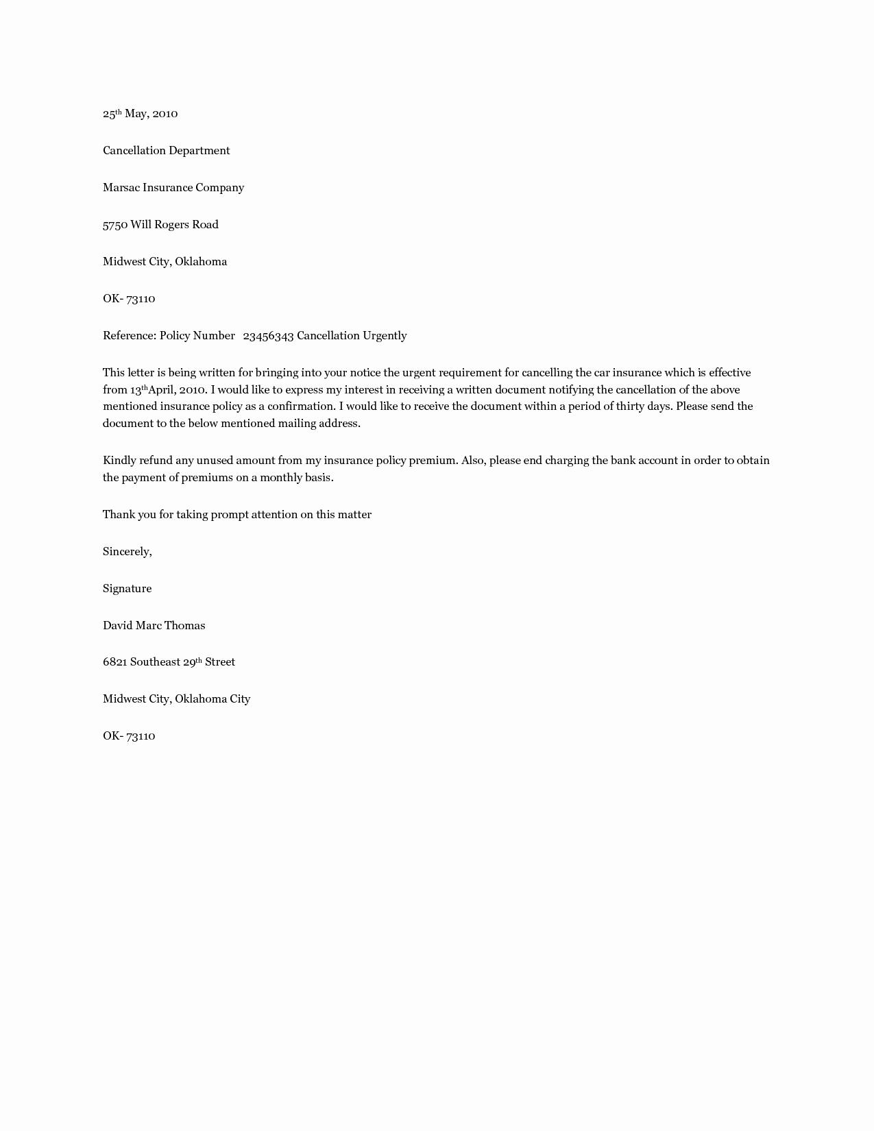 Insurance Policy Cancellation Letter Template - Life Insurance Policy Template Unique Letter to Cancel Insurance