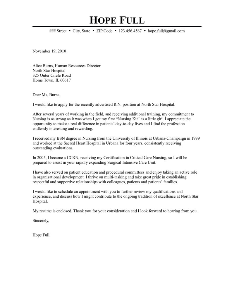 Lpn Cover Letter Template Examples