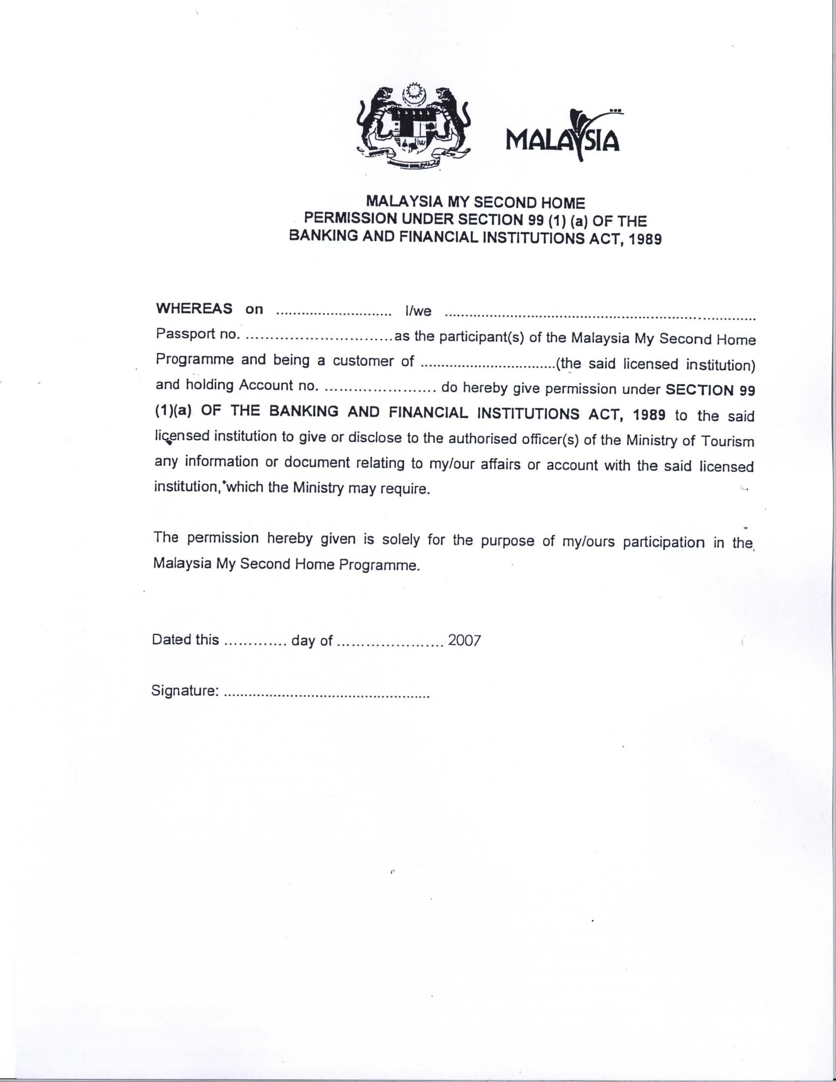 Parent Permission Letter Template - Malaysia Visa Application Letter Writing A Re Papervisa Request