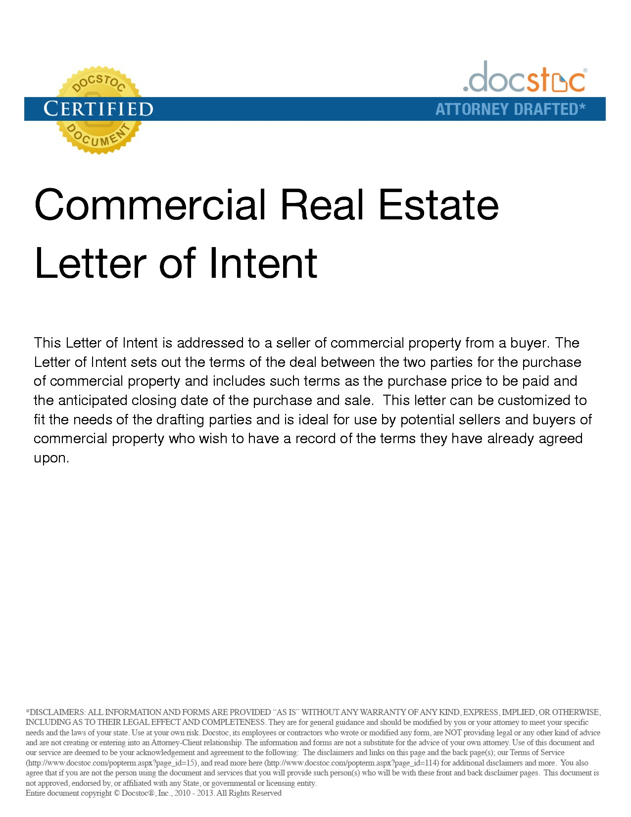 Commercial Real Estate Letter Of Intent Template - Mercial Real Estate Purchase Letter Intent Sample