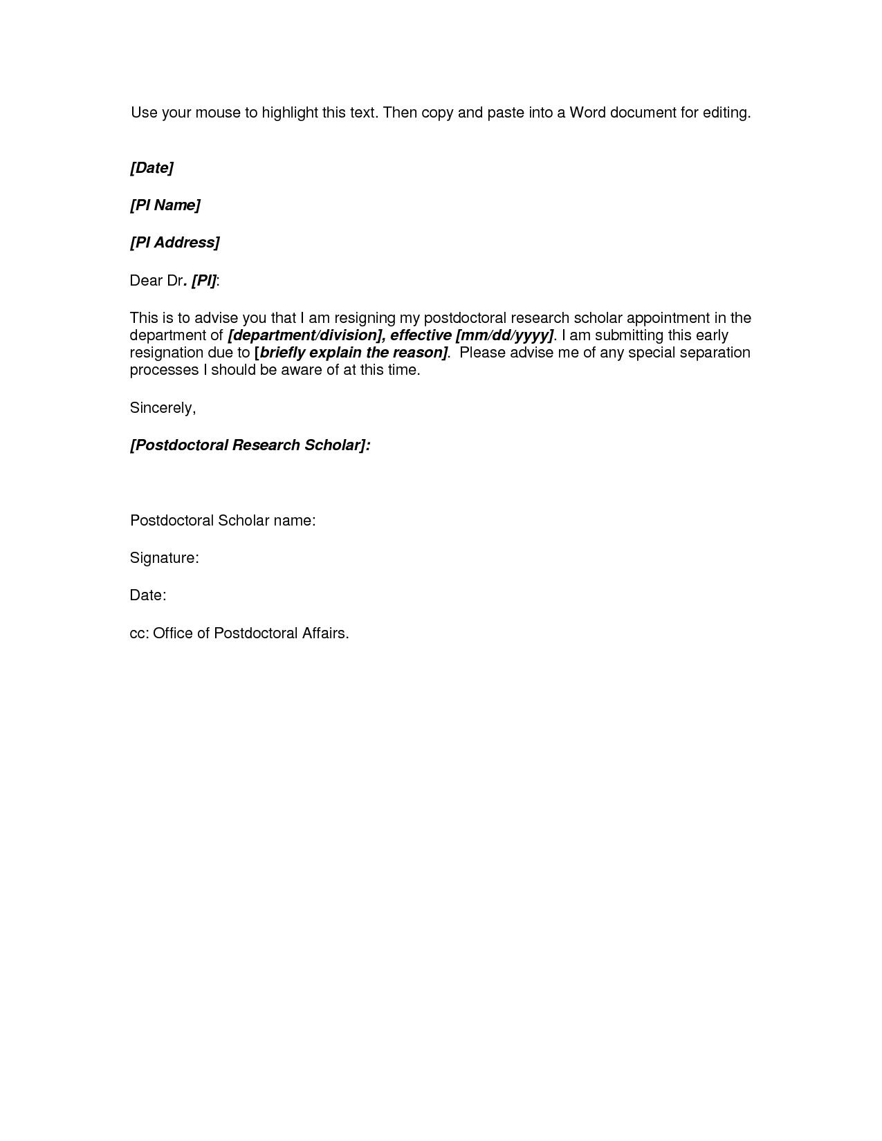 Resignation Letter Template Word Free - Microsoft Word Resignation Letter Template