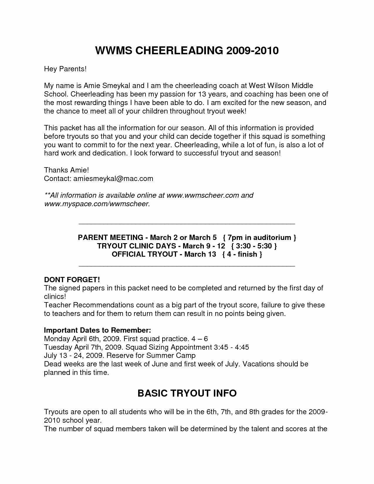 summer camp letter to parents template Collection-Middle School Teacher Cover Letter Samplest Year New Soccer Coach Bank Resume Cv 13-b