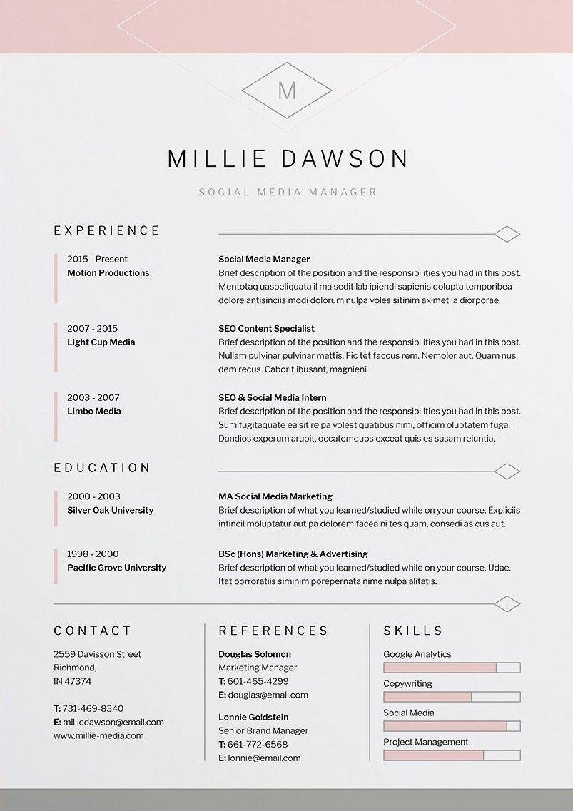 Indesign Letter Template - Millie Resume Cv Template Word Shop