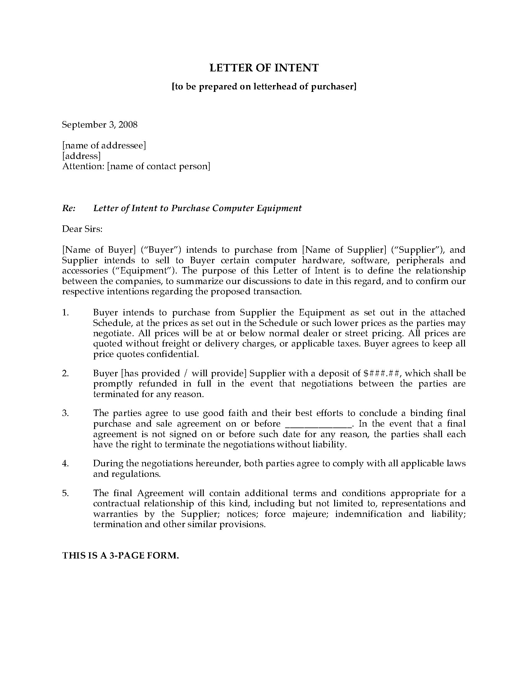 Letter Of Intent to Purchase Equipment Template - Mockupr Intent to Purchase Equipment Property Template In