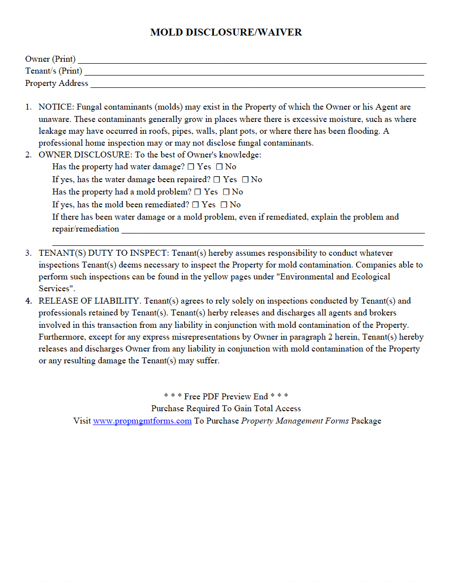 New Management Letter to Tenants Template - Mold Disclosure Waiver Pdf Property Management forms