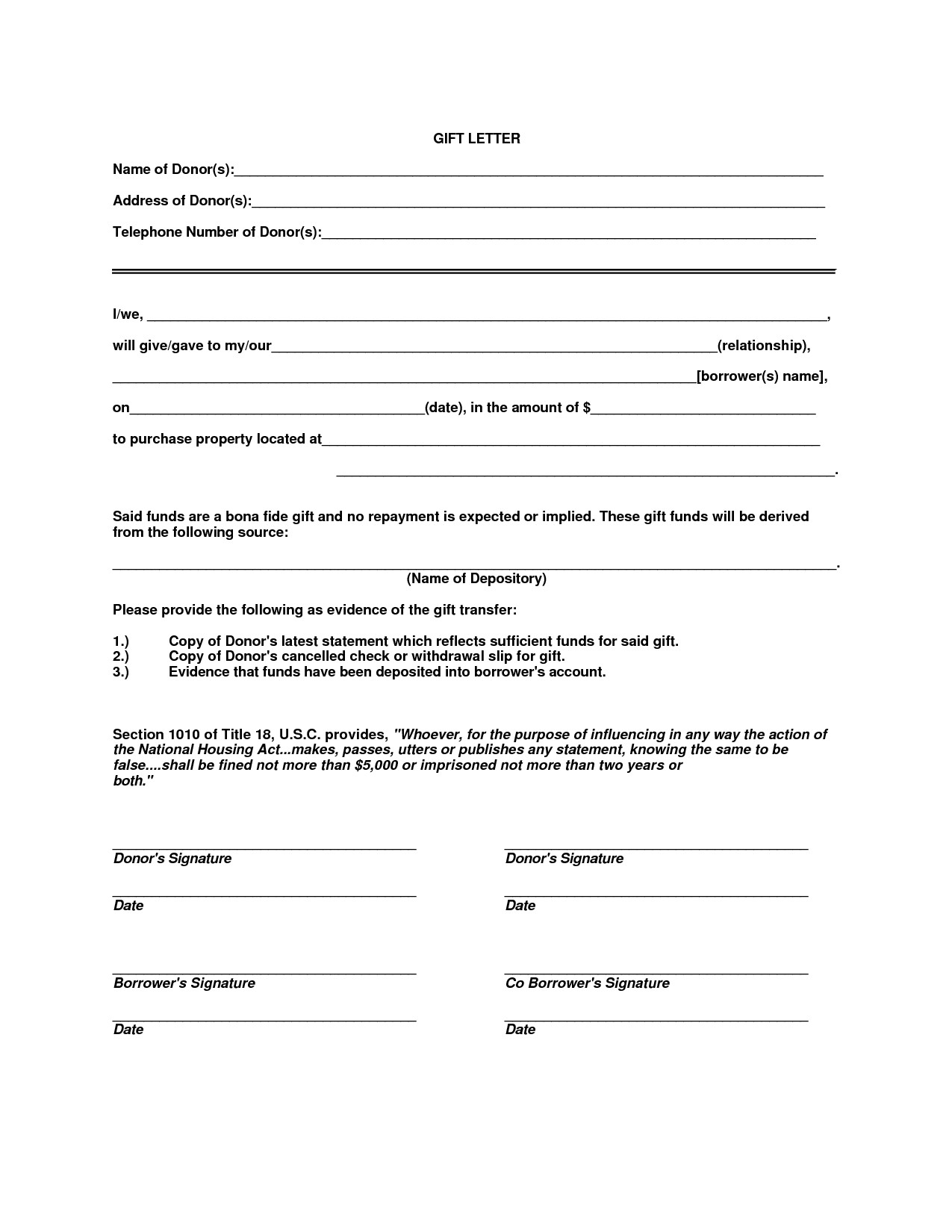 Fha Gift Letter Template - Mortgage Down Payment Gift Letter Template