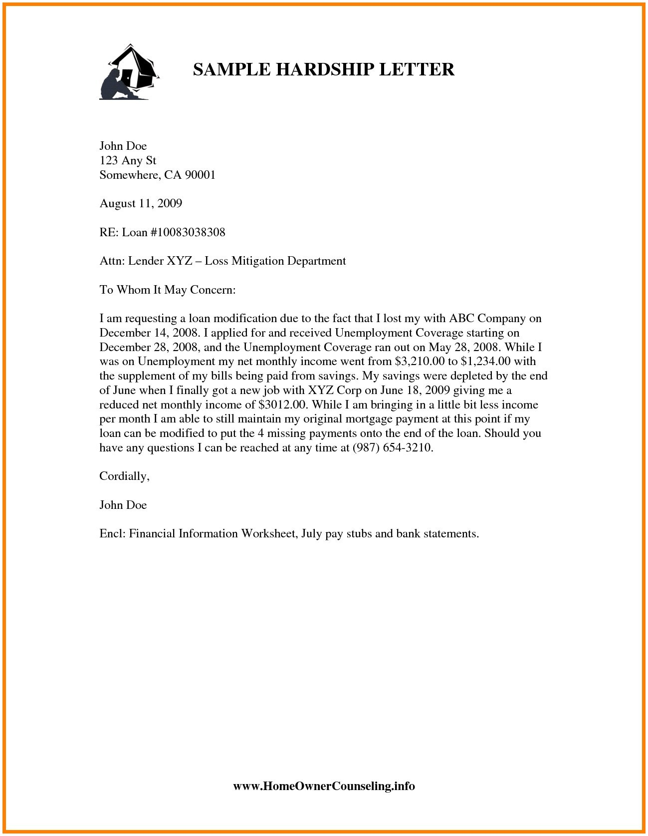 Mortgage Hardship Letter Template - Mortgage Hardship Letter