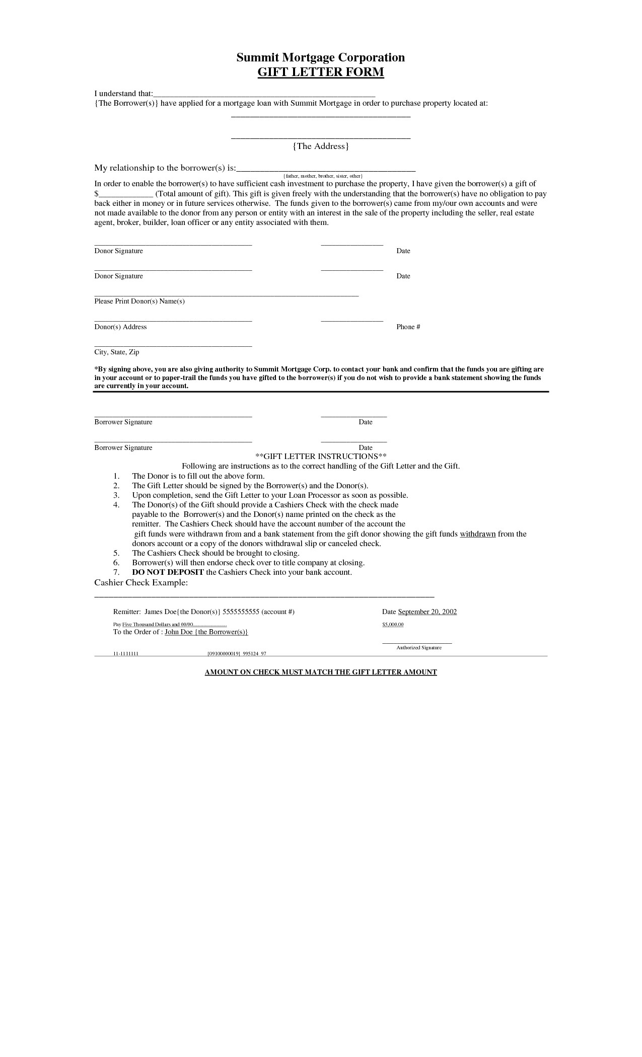 Mortgage Gift Letter Template - Mortgage Loan Gift Letter Template Archaicawful Loan T Letter