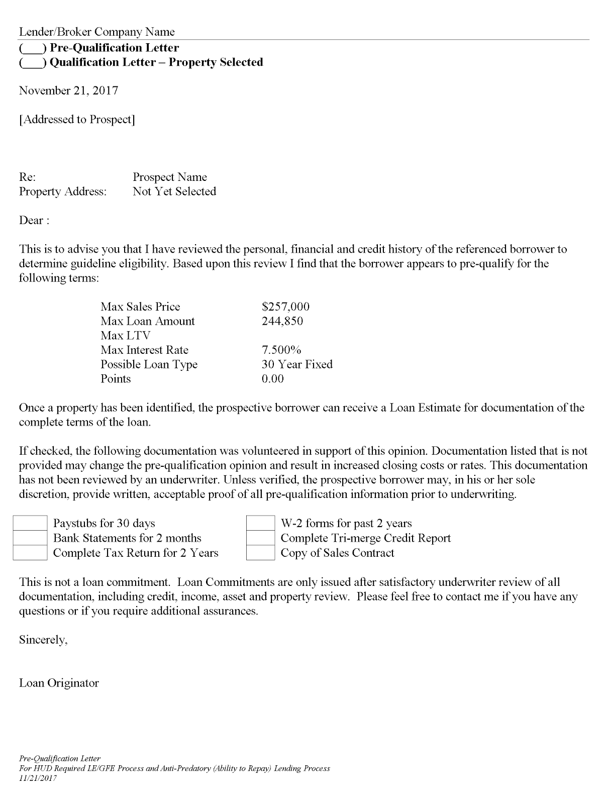 Mortgage pre qualification letter template collection for Broker opinion of value template