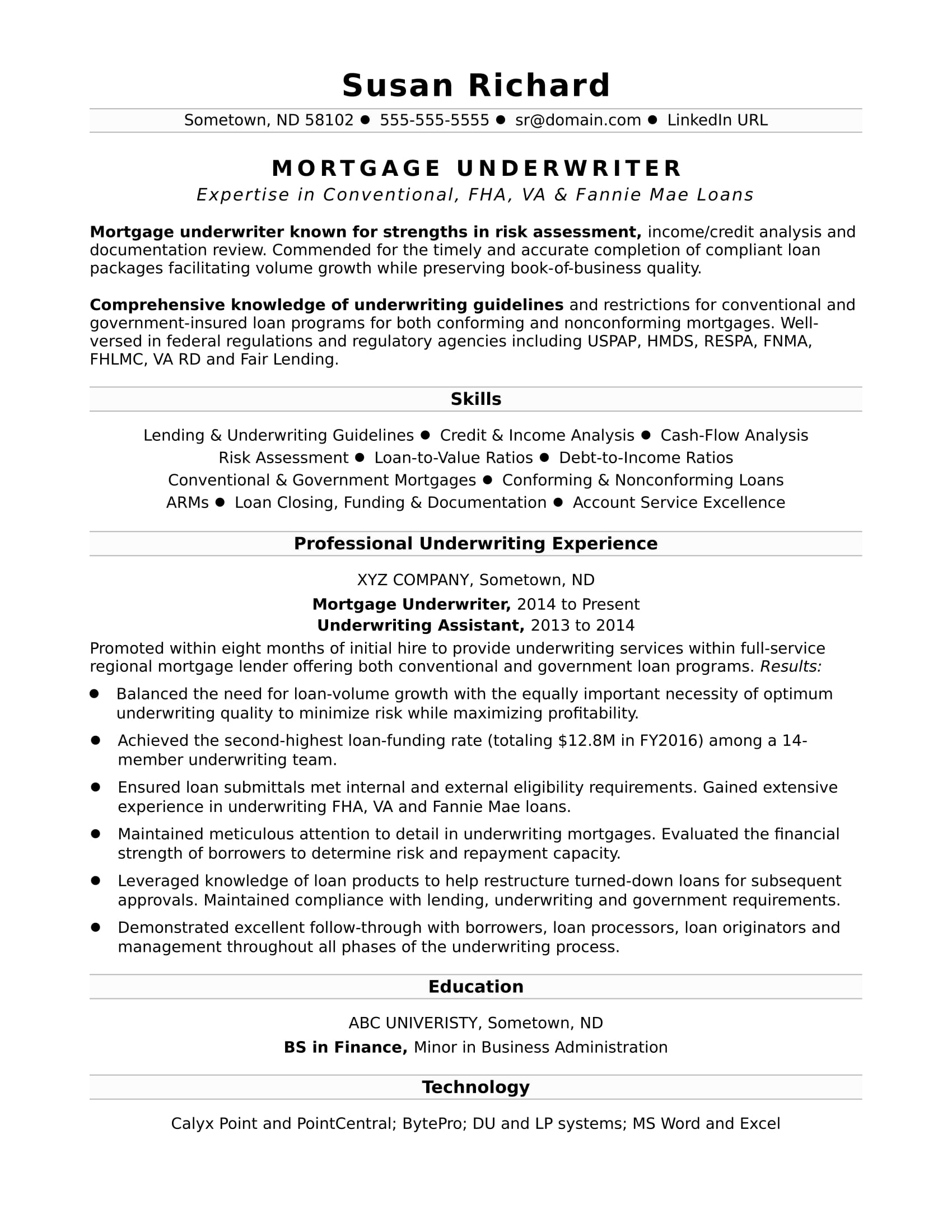 Mortgage Reference Letter From Employer Template - Mortgage Underwriter Resume Sample