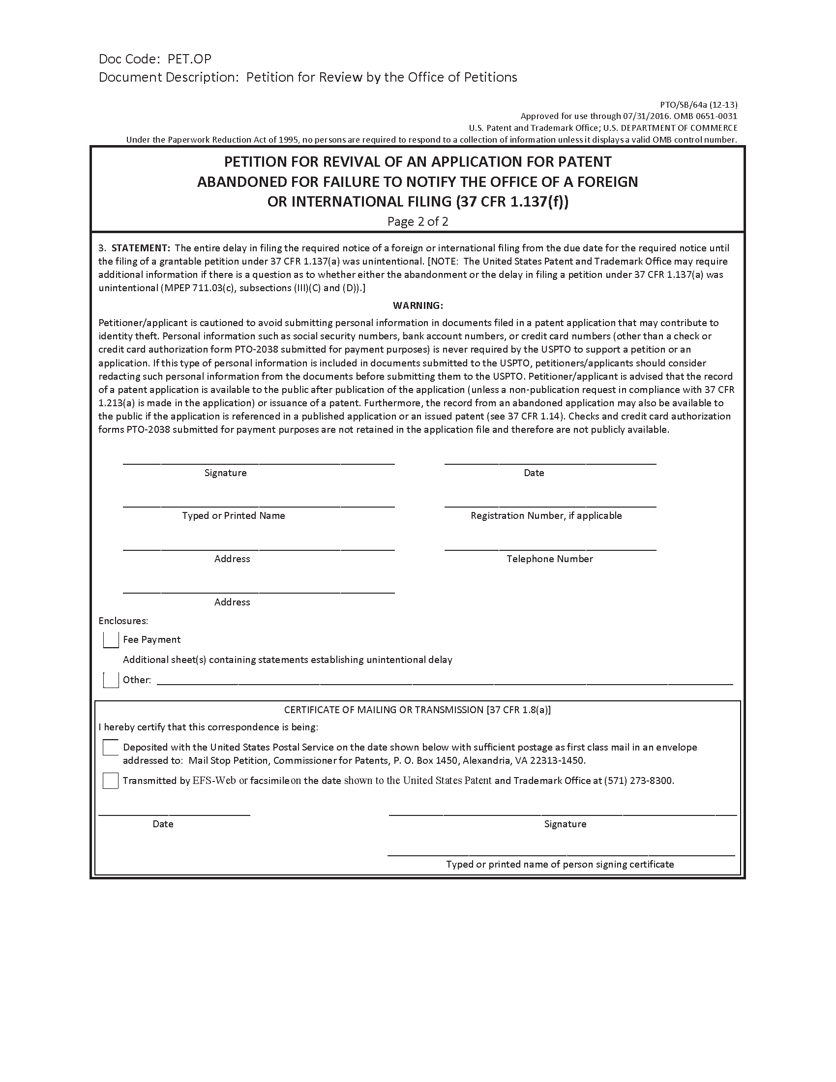 Patent Infringement Letter Template - Mpep 711 03 C Petitions Relating to Abandonment Jan 2018 Bitlaw