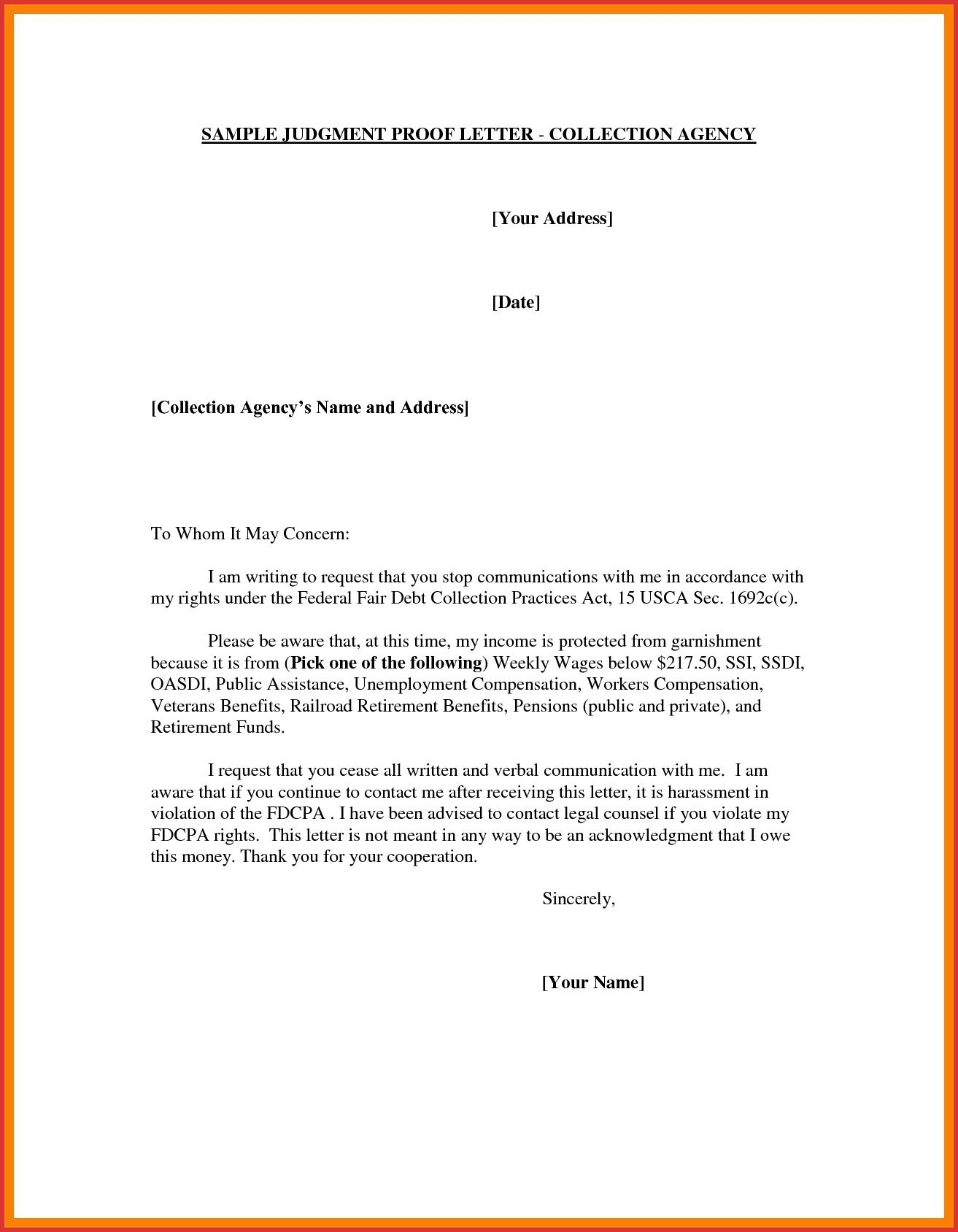 Debt Harassment Template Letter - New Debt Validation Letter Template