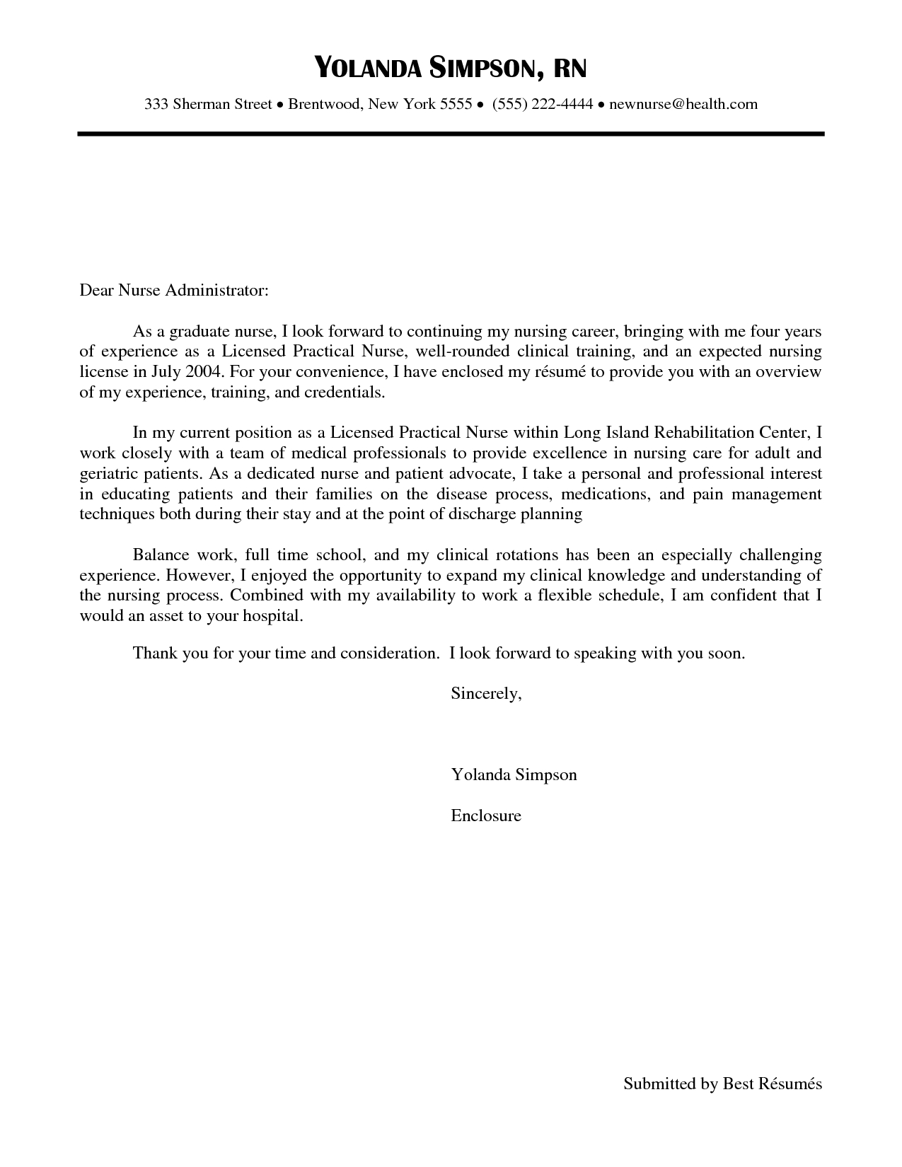 Lpn Cover Letter Template