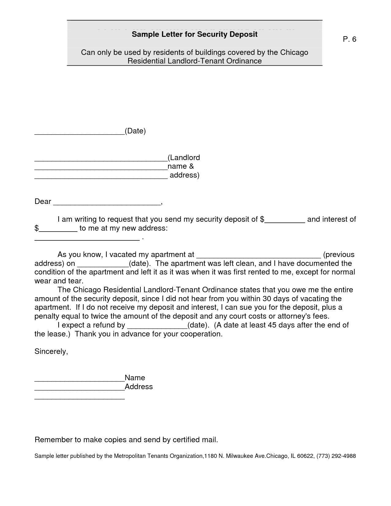 Security Deposit Refund Letter Template Collection | Letter Templates