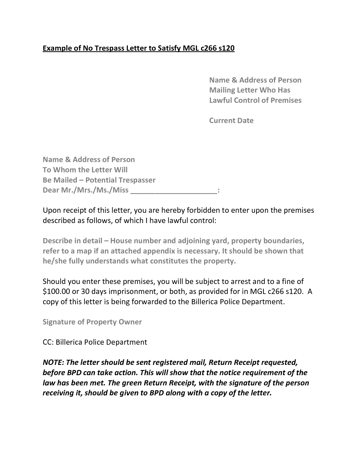Cease and Desist Trespassing Letter Template - New Trespass Notice Template A Place for Template Lover