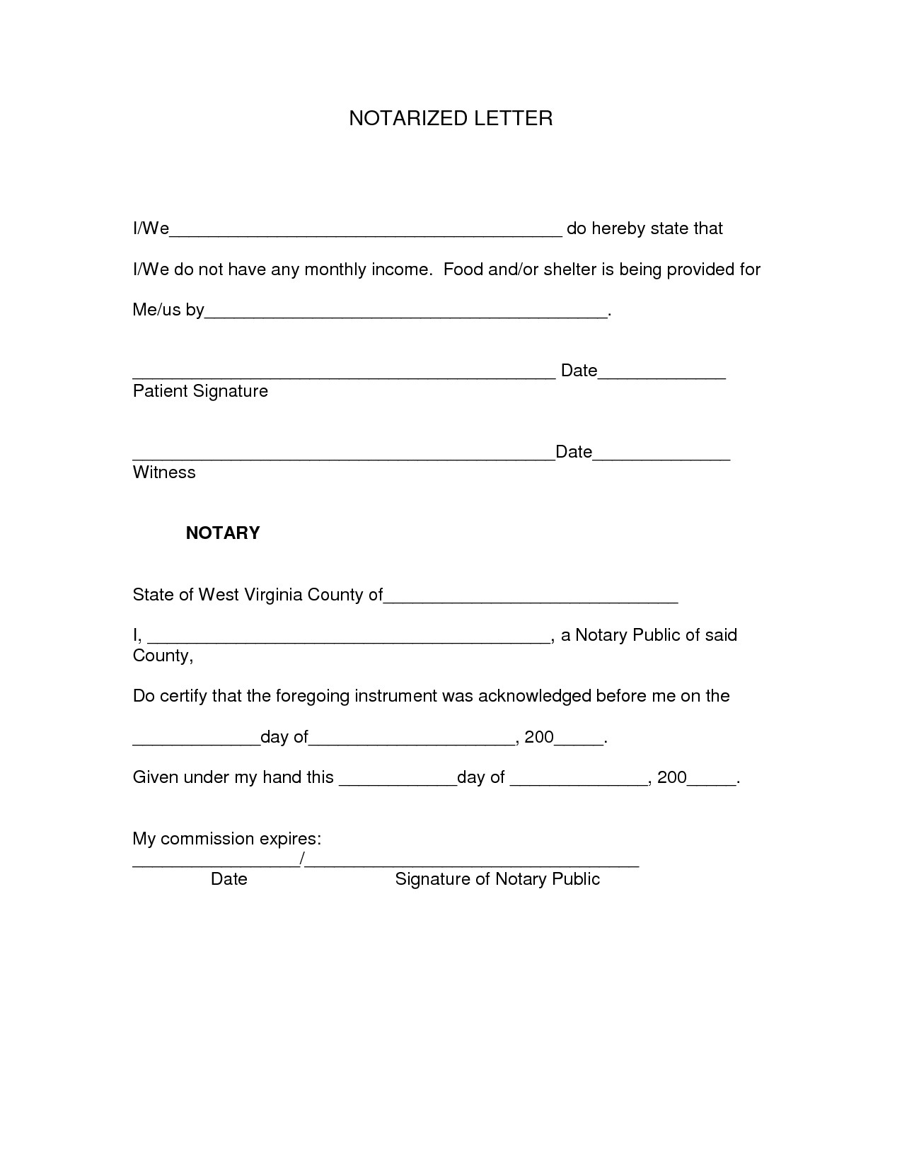 Notarized Letter Template for Residency - Notarized Document Template
