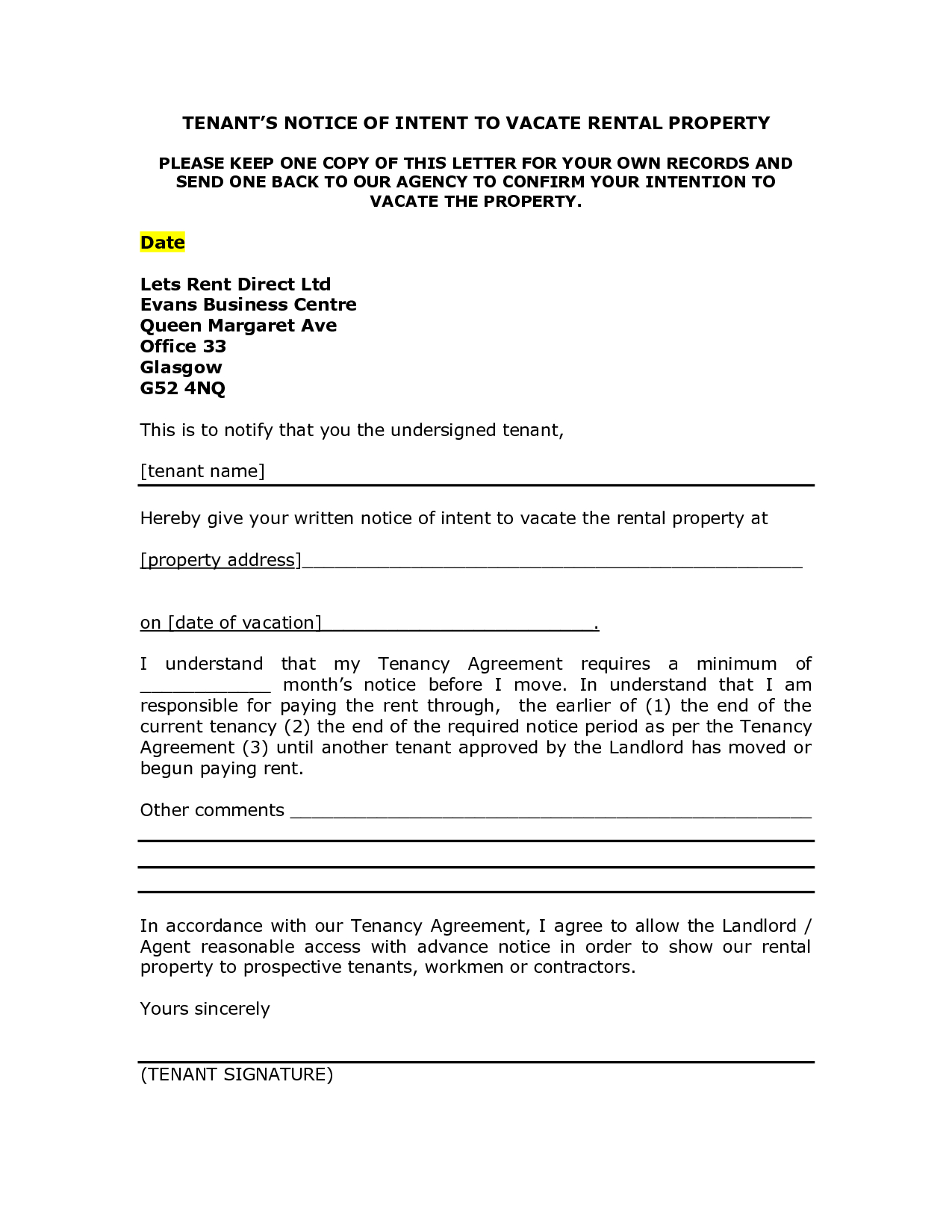 Notice to Vacate Letter to Tenant Template - Notice Intent toe Rental Property Sample Letter Picture Ideas