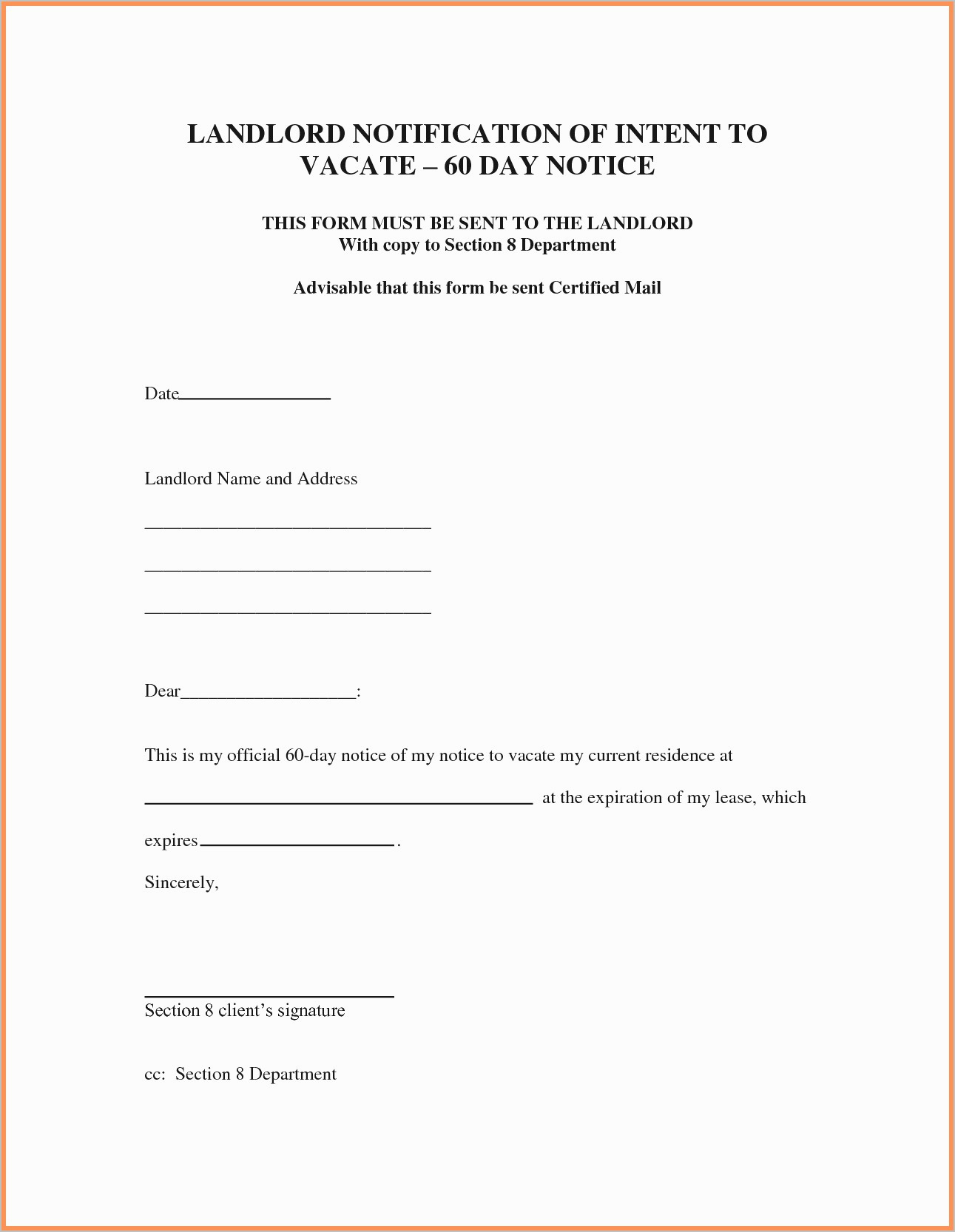 Letter Of Intent to Evict Template - Notice to Vacate form Elegant Eviction Notice Example Eviction