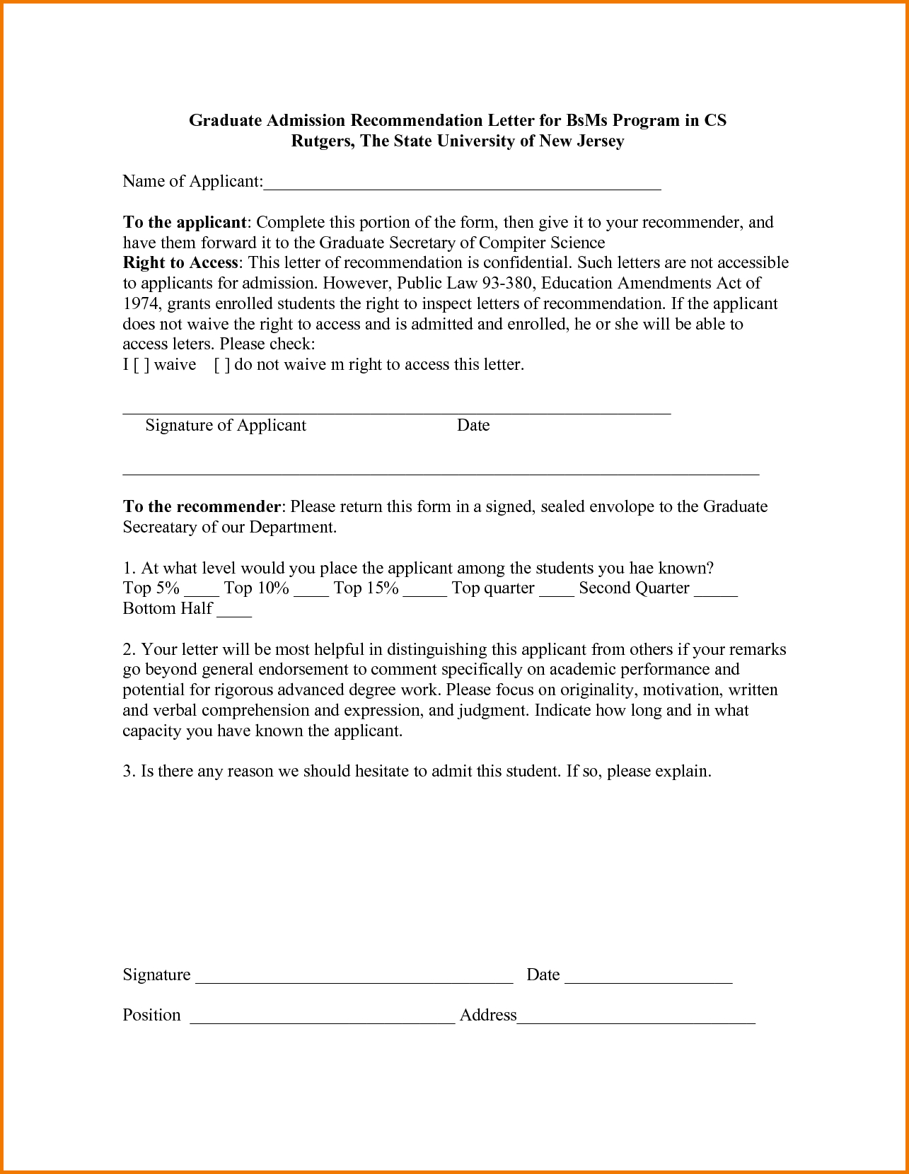 Letter Of Recommendation For College Admission Template Examples