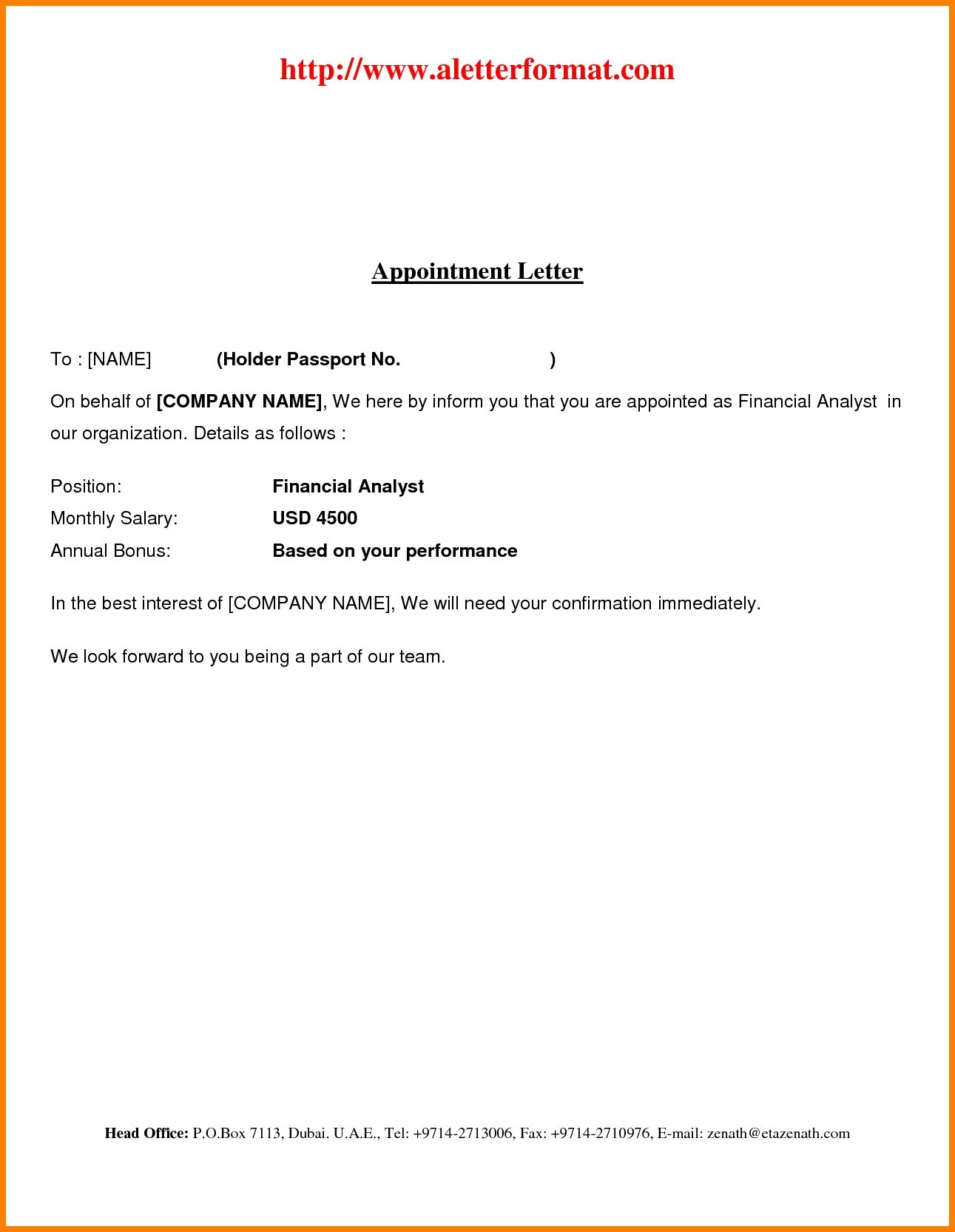job offer letter template pdf