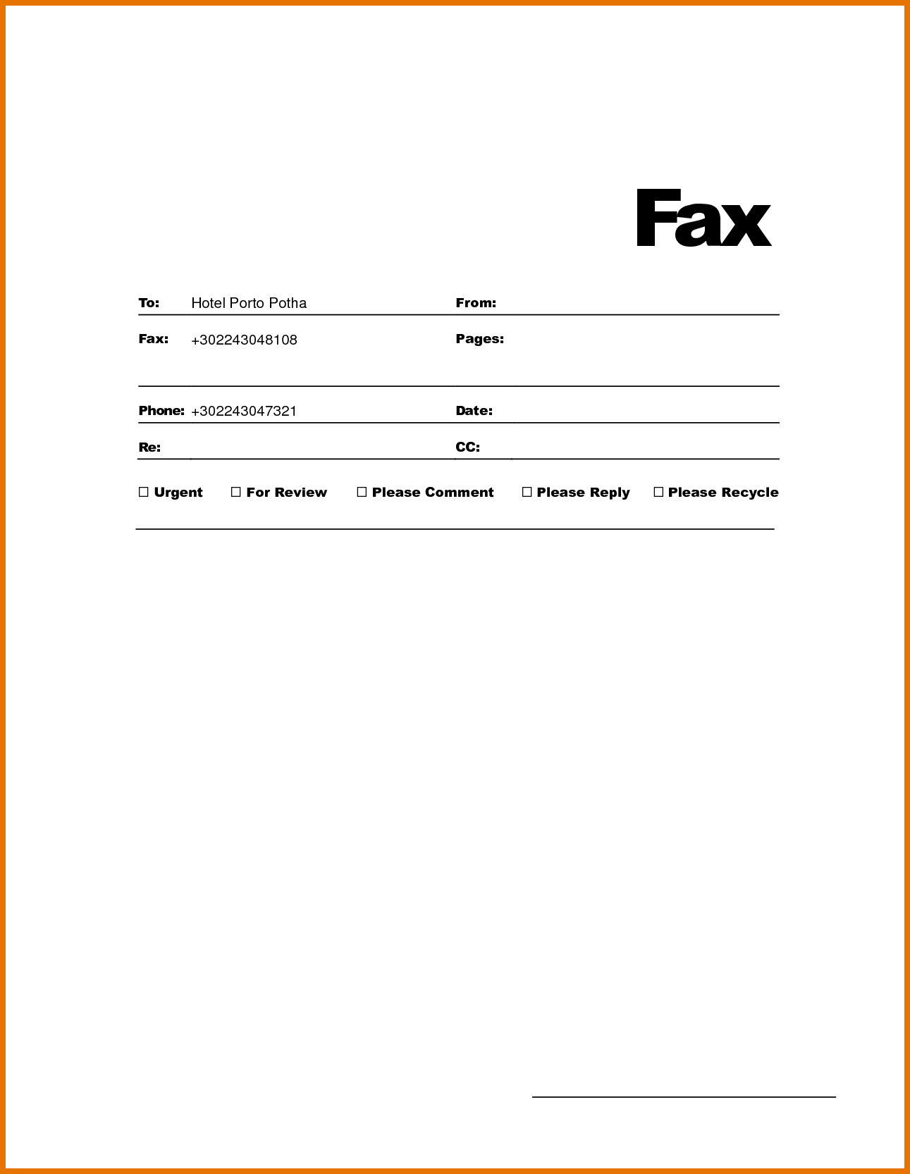 Free Printable Fax Cover Letter Template - Openoffice Fax Cover Template