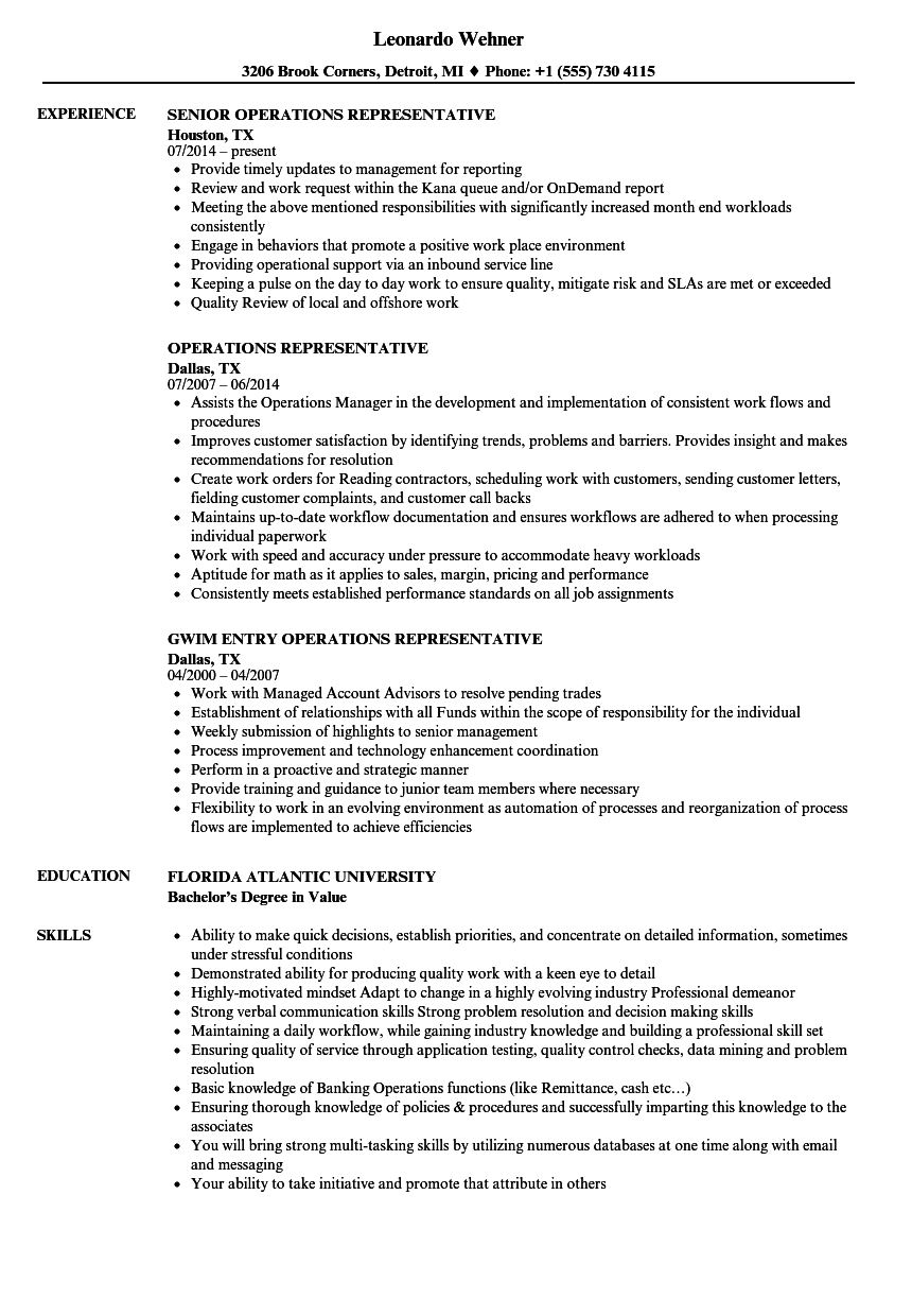 Aml Comfort Letter Template - Operations Representative Resume Samples