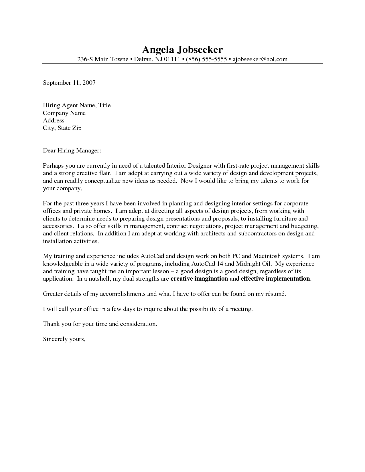 Short Cover Letter Template - Outstanding Cover Letter Examples