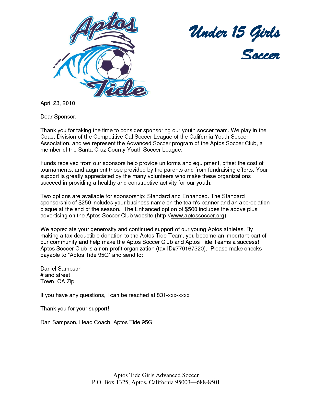 Youth Football Sponsorship Letter Template - Parent Thank You Letter From Youth athletes