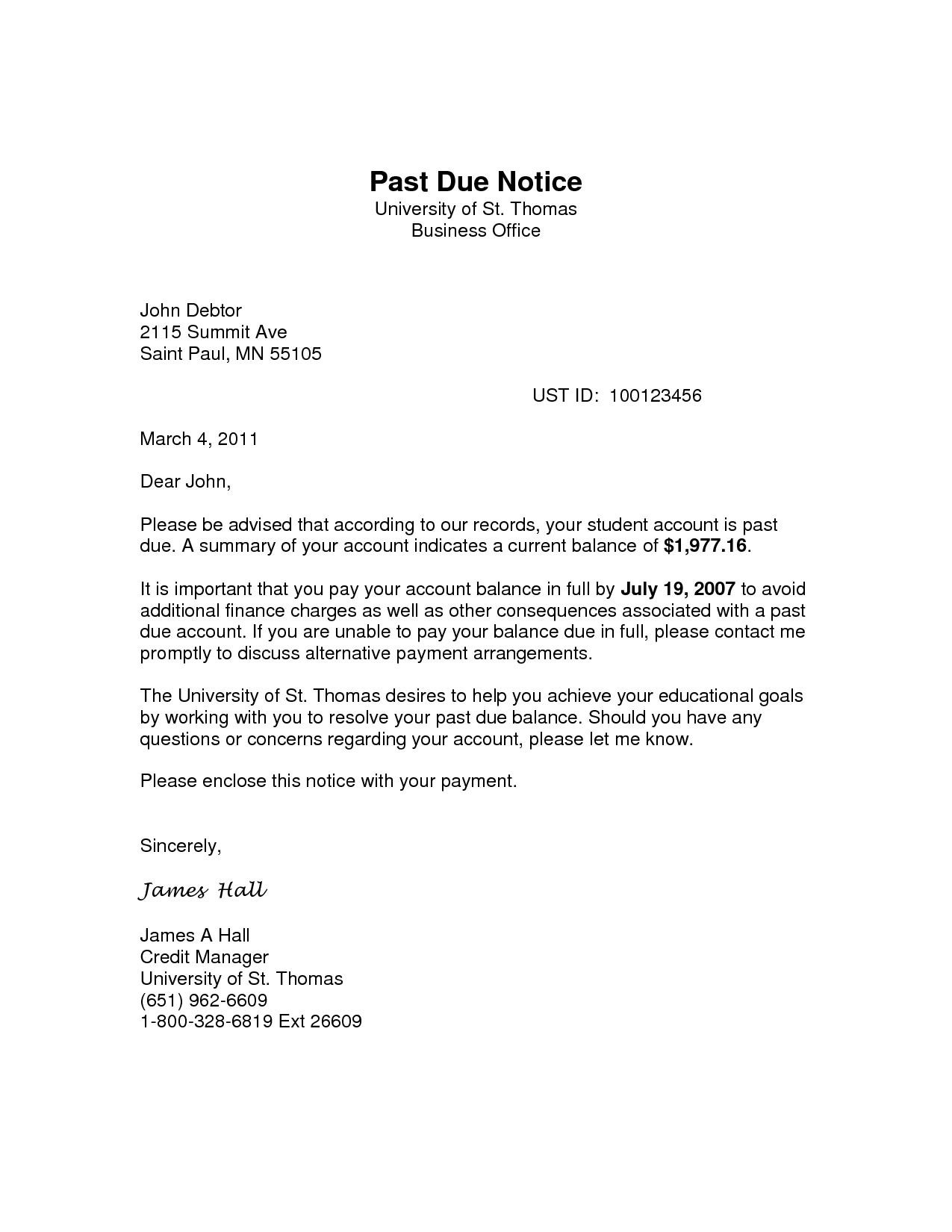 Past Due Collection Letter Template - Past Due Notice Acurnamedia