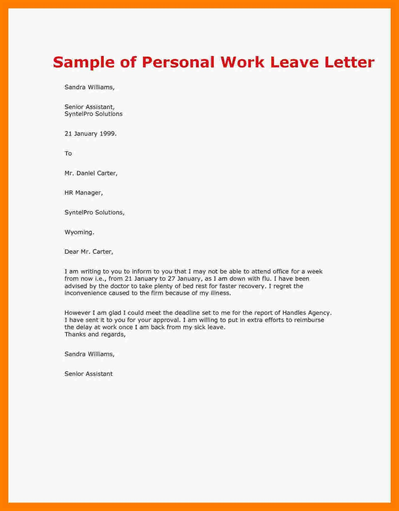 Personal Leave Of Absence Letter Template - Paternity Leave Letter Template Uk Fresh Returning to Work after