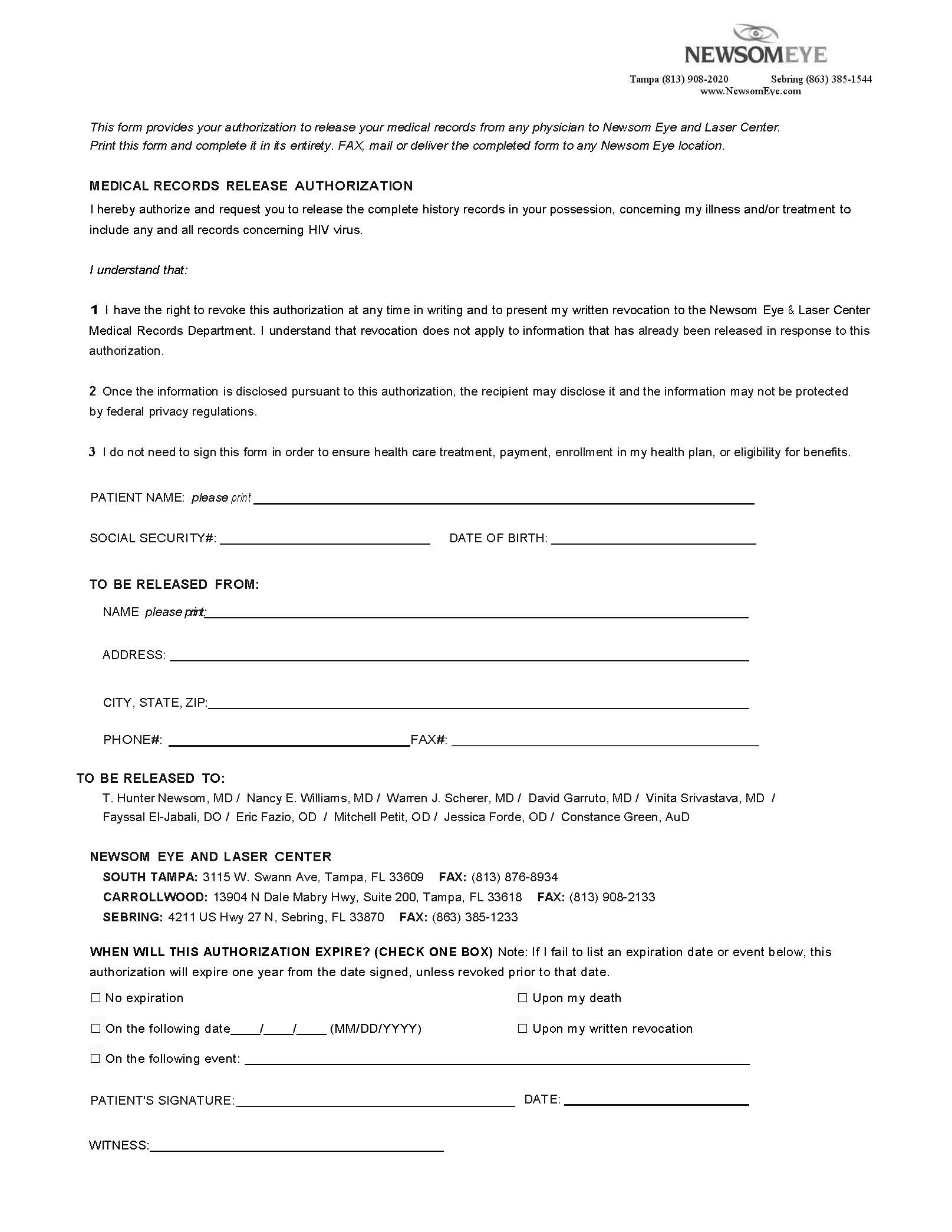 Medical Records Release Letter Template - Patient Medical Release forms Tampa Florida Newsom Eye