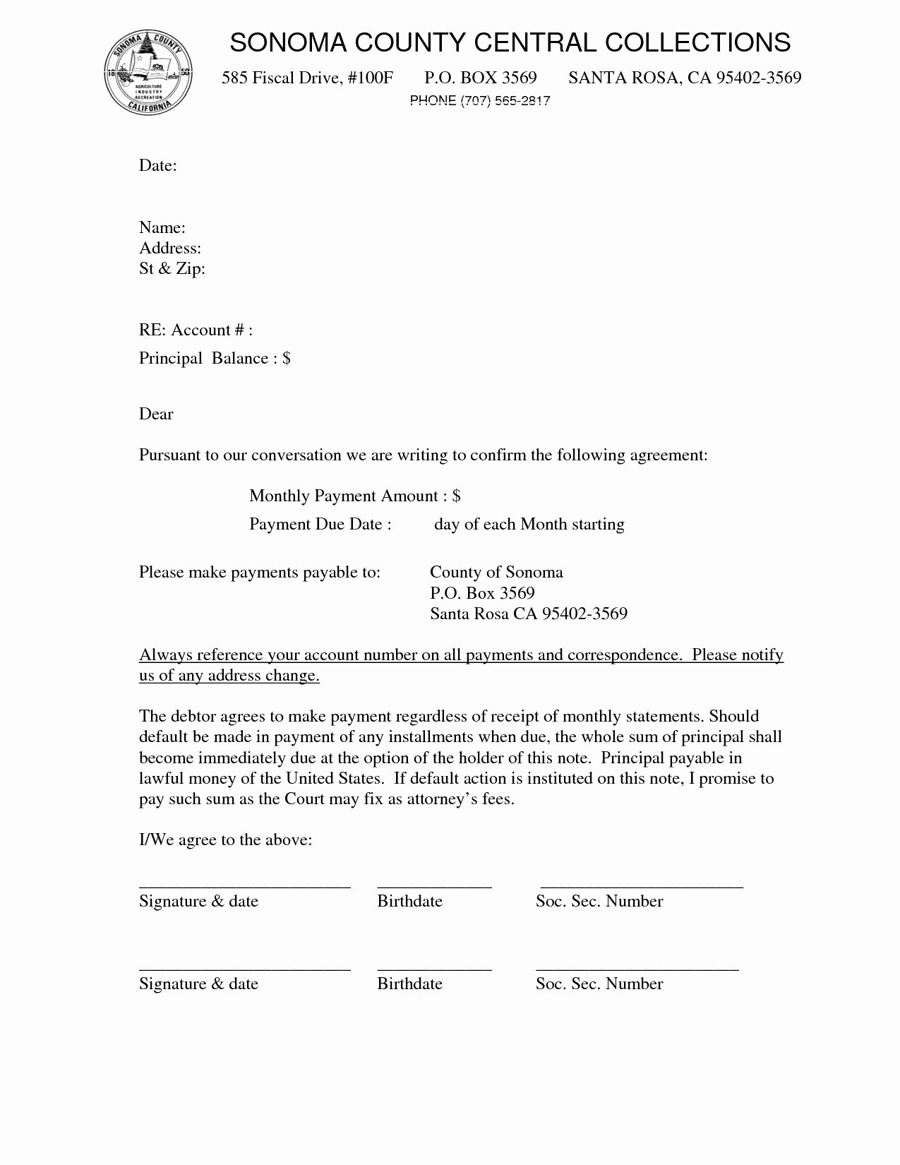 Installment Payment Agreement Letter Template Collection