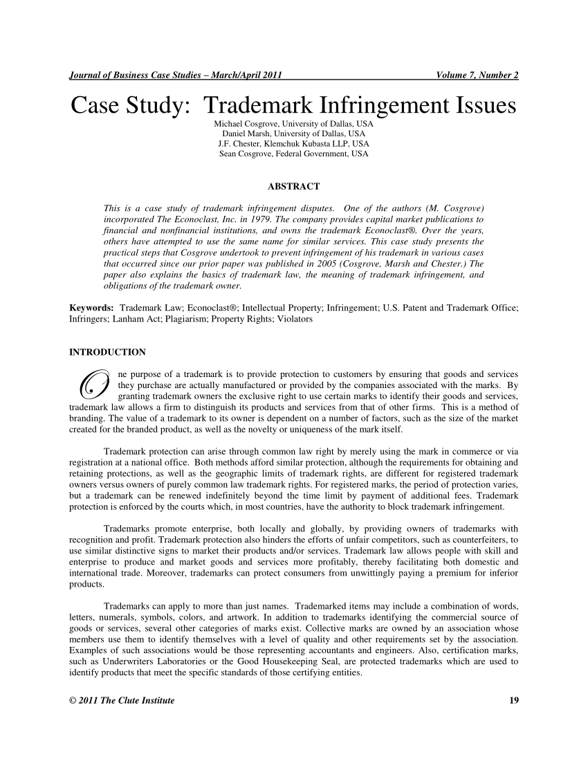 Patent Infringement Letter Template - Pdf Case Study Trademark Infringement issues