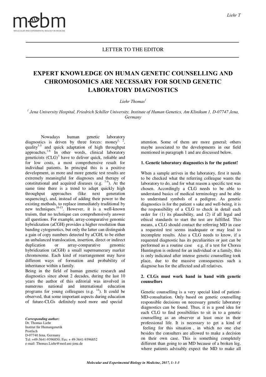 Genetic Counseling Letter Template - Pdf Expert Knowledge On Human Genetic Counselling and Chromosomics
