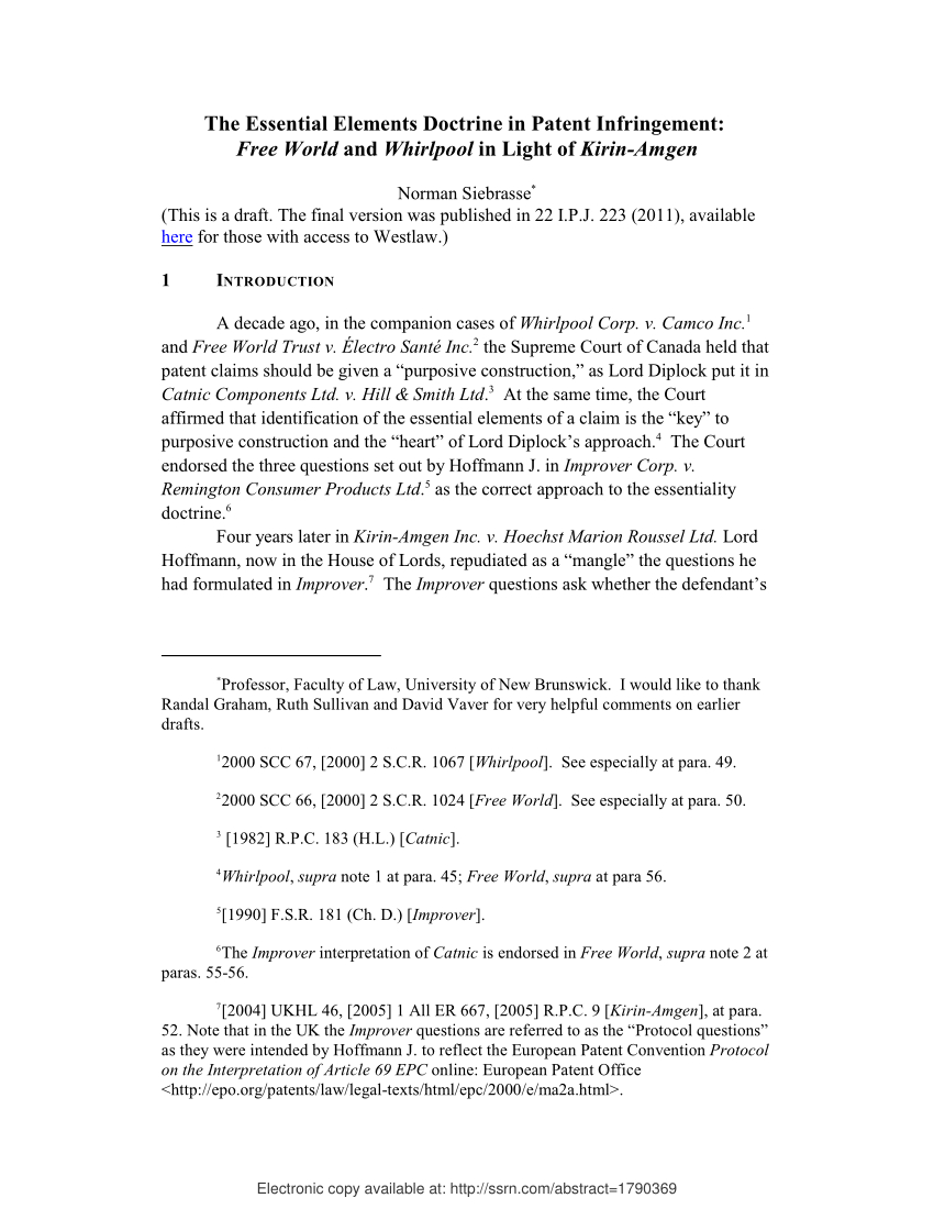 Patent Infringement Letter Template - Pdf the Essential Elements Doctrine In Patent