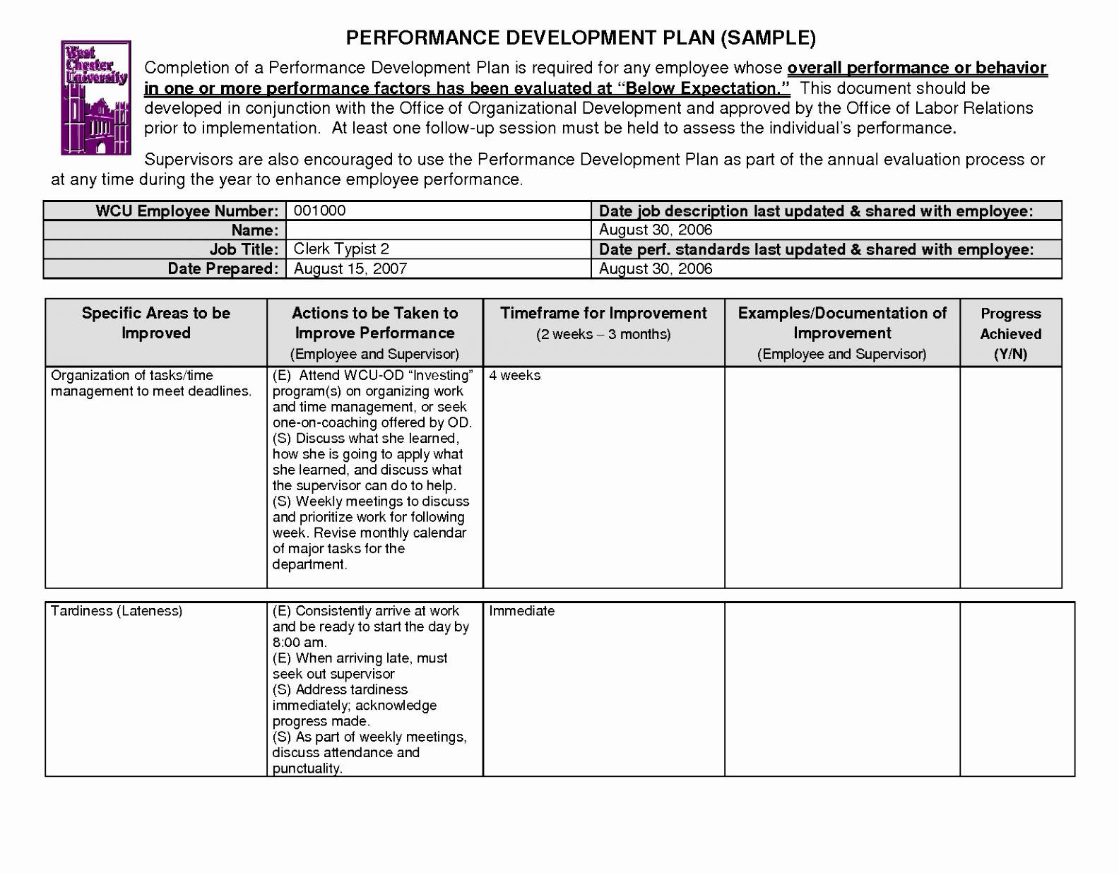 Performance Improvement Plan Letter Template Collection | Letter ...