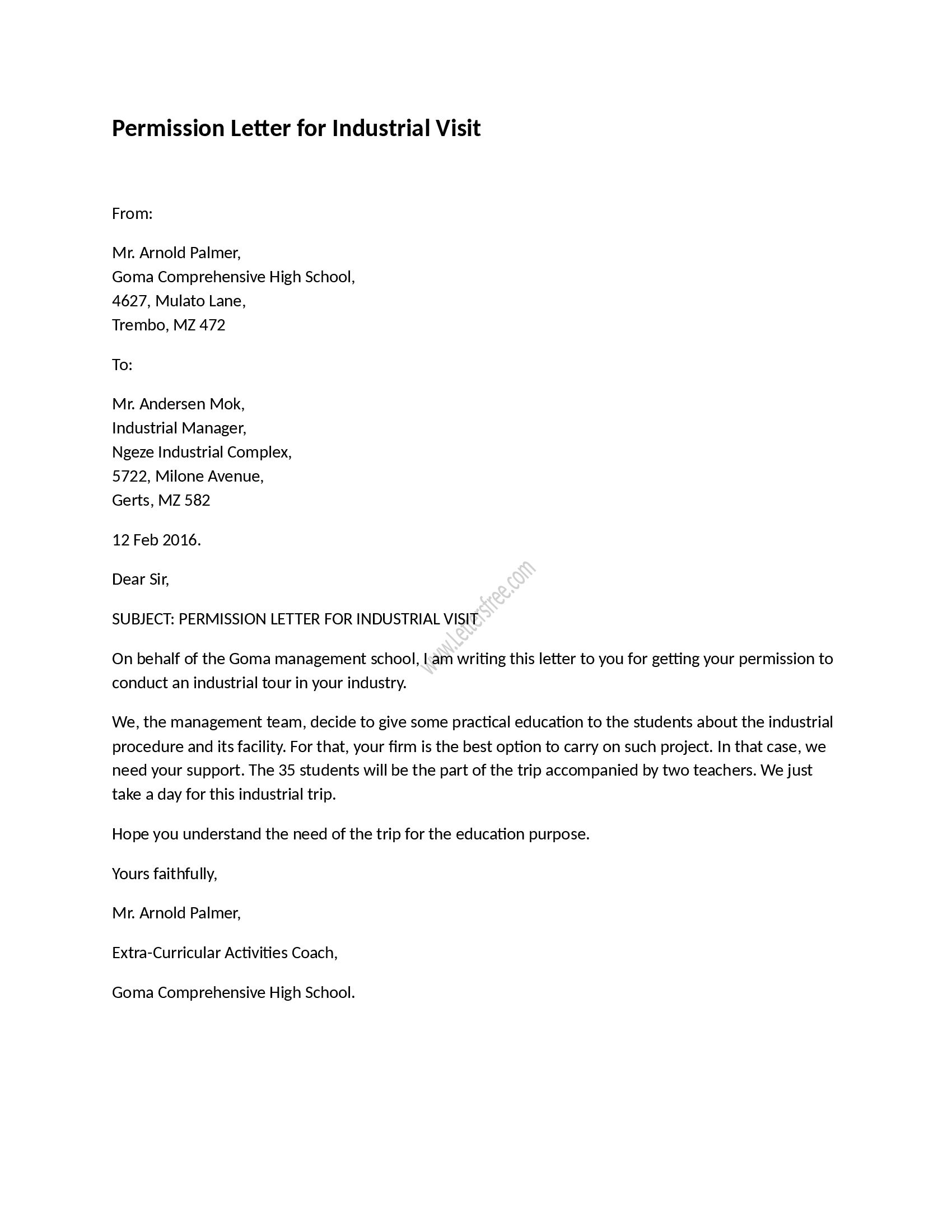 Permission to Travel Letter Template - Permission Letter for Industrial Visit Pinterest