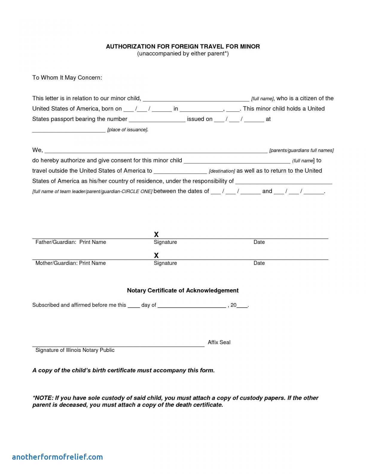 Parental Consent Permission Letter Template - Permission Letter to Travel Refrence Microsoft Word Consent