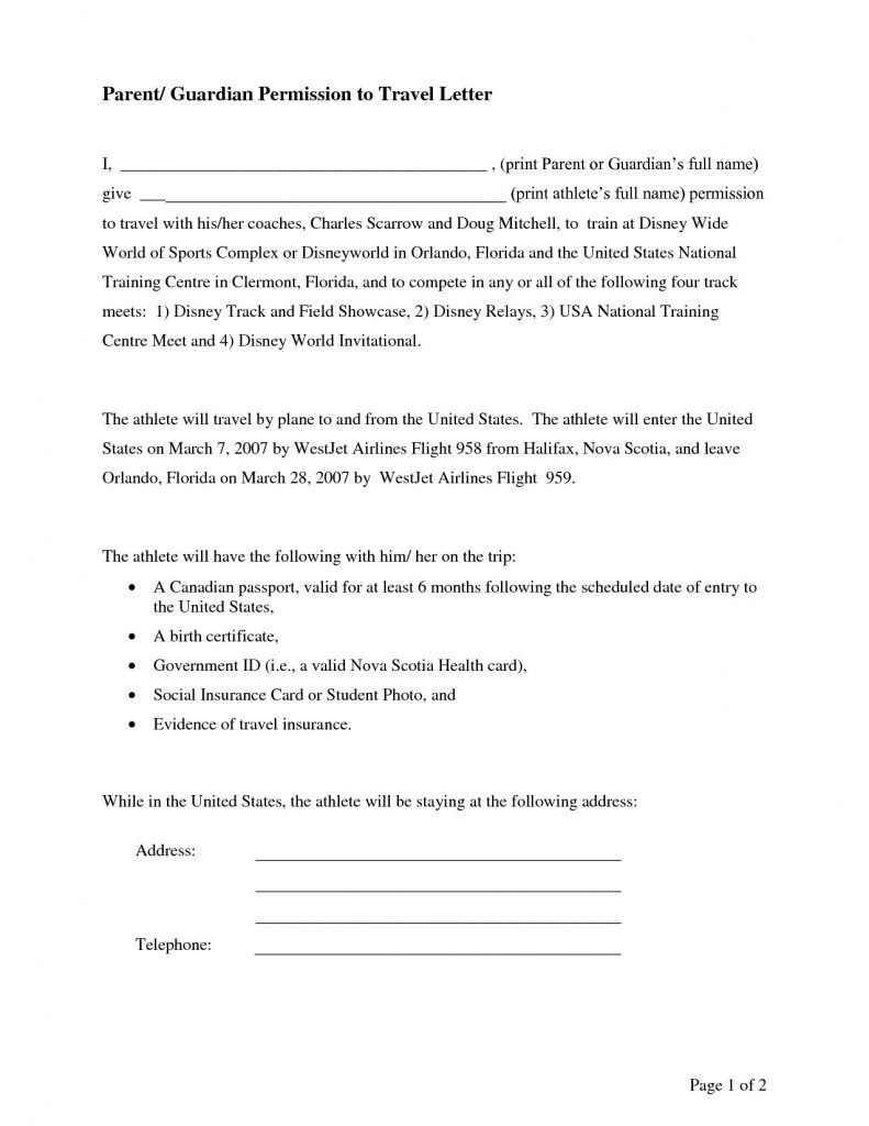 Parental Consent Permission Letter Template - Permission Letter to Travel Valid Travel Consent Letter Fresh for