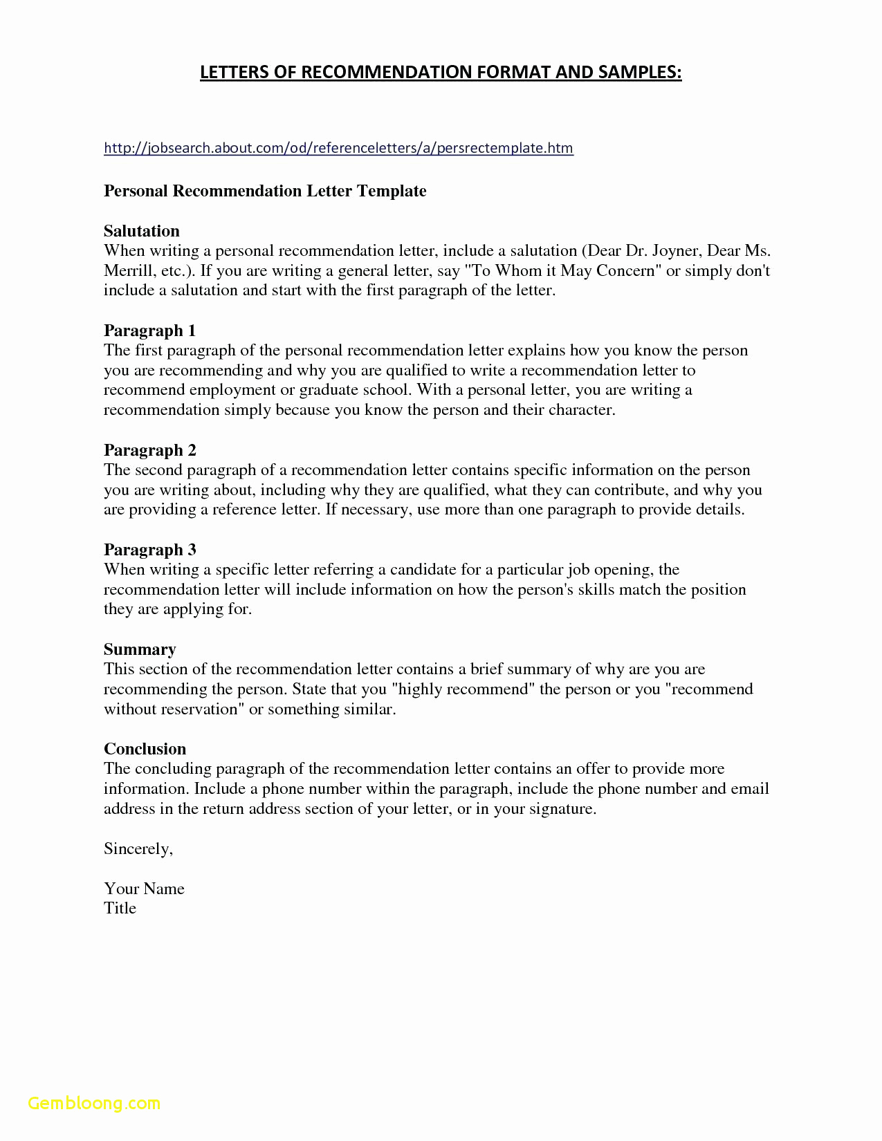 Writing Your Own Letter Of Recommendation Template - Personal Re Mendation Letter for Employment Lovely References for