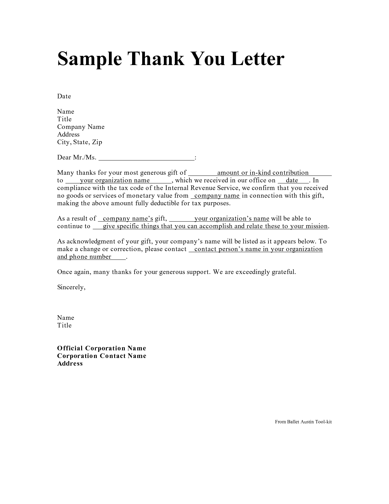tax deductible donation thank you letter template samples letter