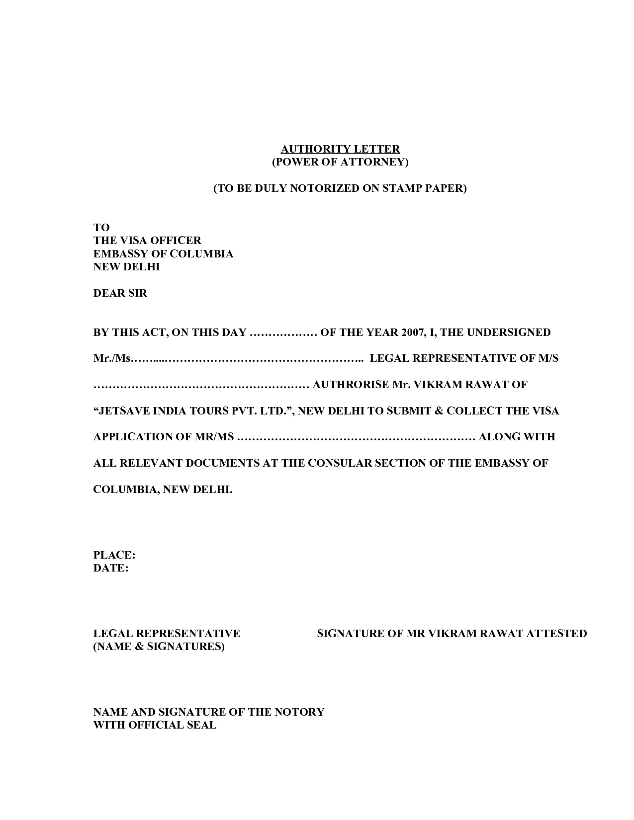 Notarized Letter Template Florida - Poa Letter Template Acurnamedia