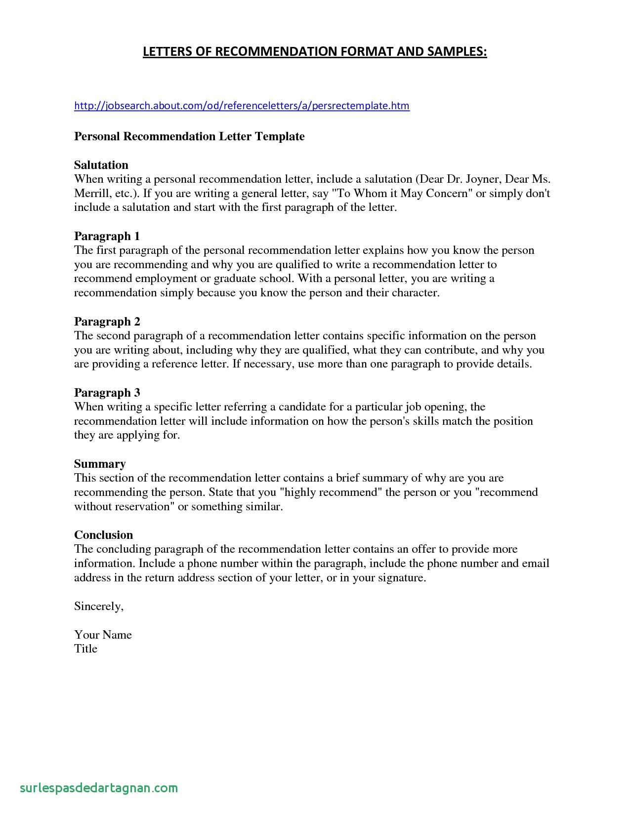 Personal Recommendation Letter Template Free - Police Ficer Resume Fresh Article Summary Template Free Website